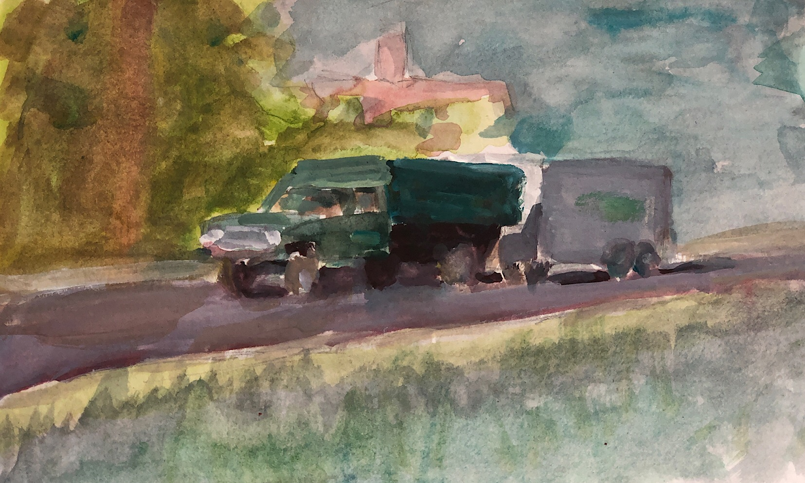 "Geoff Watson, ""Sketch of Danny's truck,"" gouache, watercolor & graphite on paper, 5"" x 7,"" 2019."
