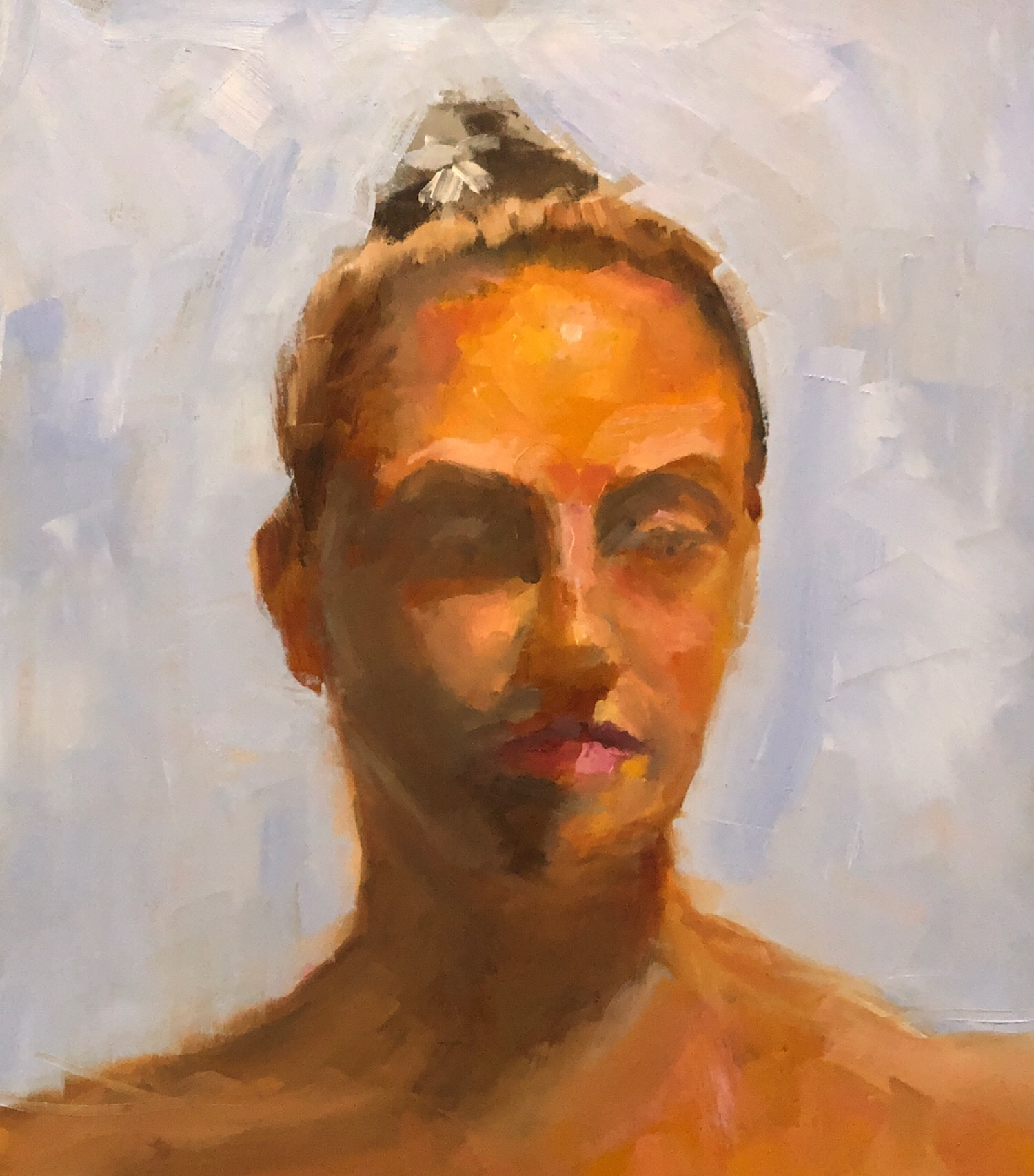 "Geoff Watson, ""Portrait study of Mallina,"" oil on panel, 11"" x 14,"" 2019."