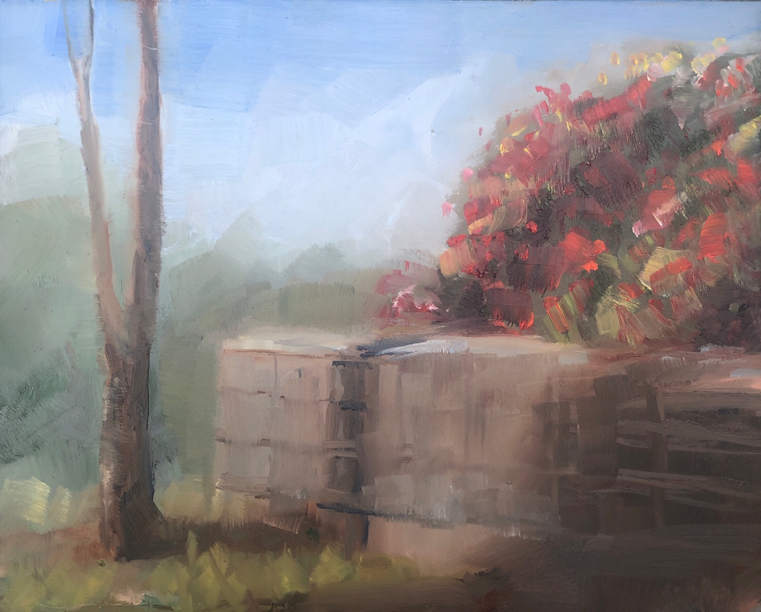 "Geoff Watson, ""Unfinished wall,"" May daily painting #3, oil on panel, 8"" x 10,"" 2019."