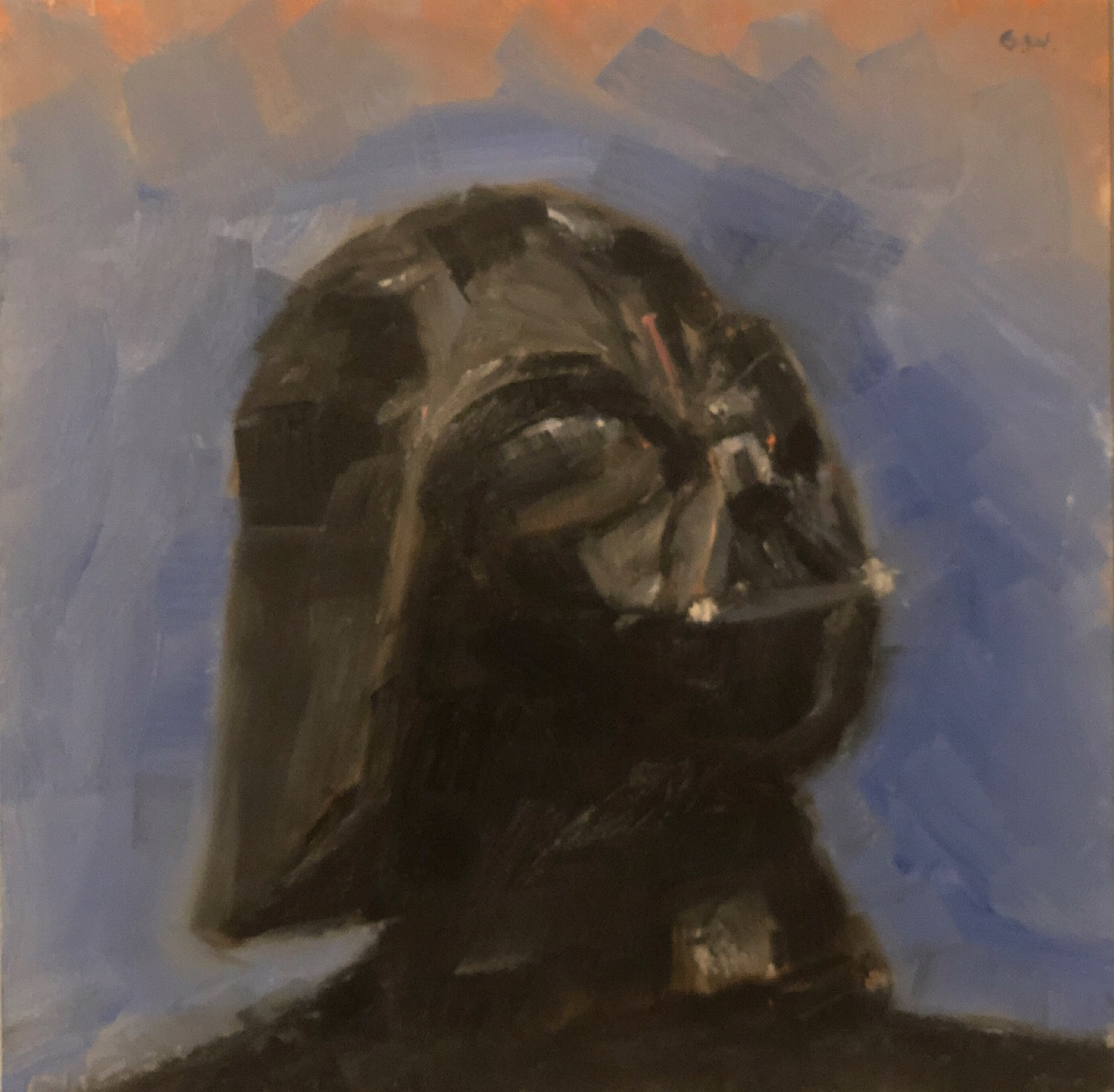 "Geoff Watson, ""Darth Vader,"" fan art, oil on panel, 8"" x 8,"" 2019. Disclaimer: Star Wars and Darth Vader are the intellectual property of Disney, and I do not intend to sell this painting."