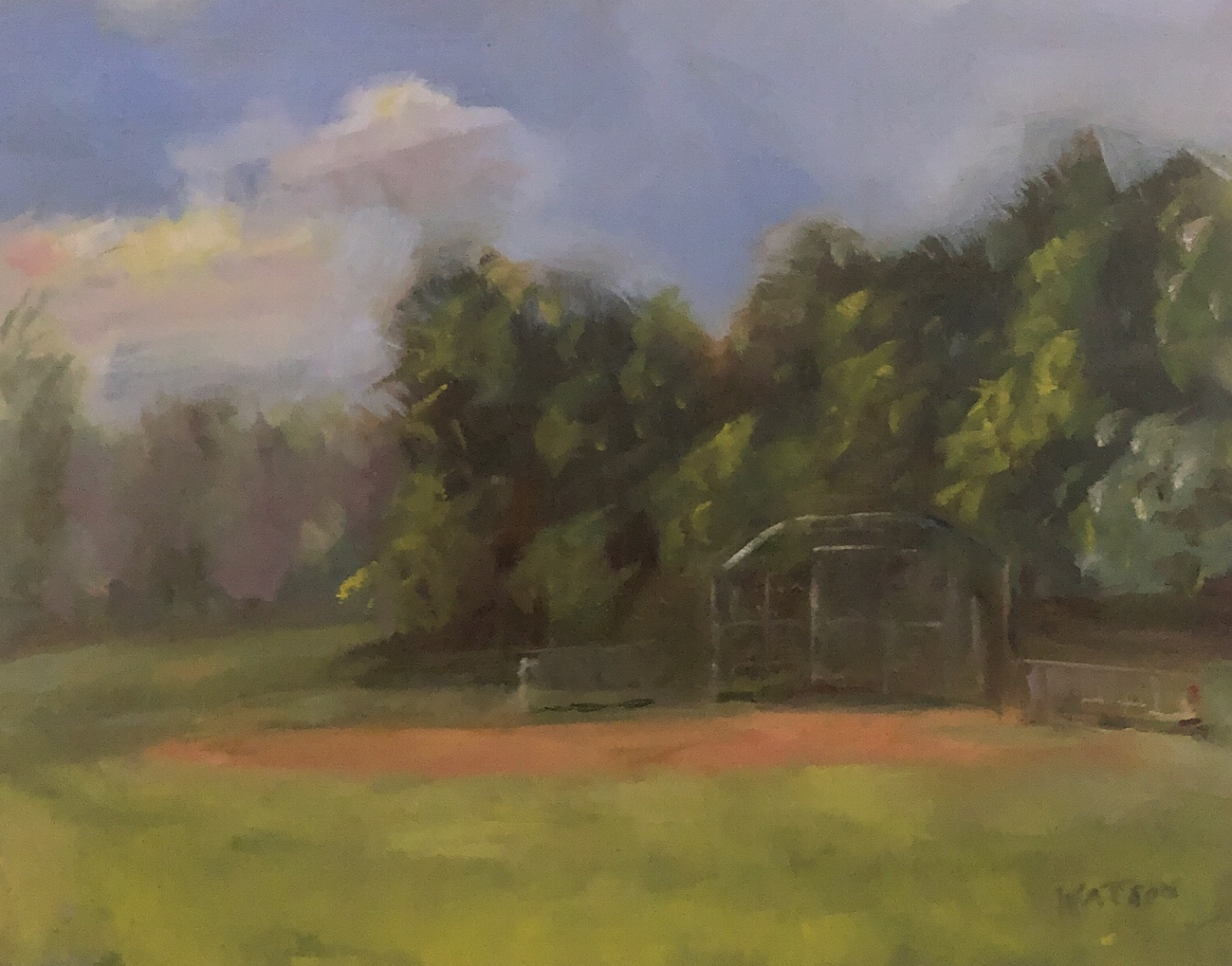 "Geoff Watson, ""Softball field at Norwood Park,"" May daily painting #7, oil on panel, 8"" x 10"", 2019."