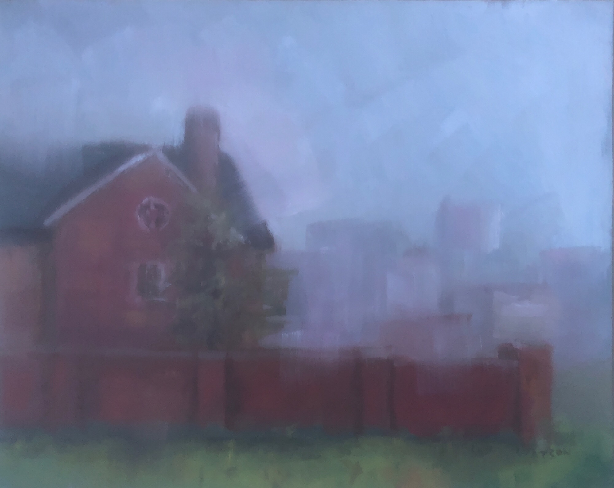 "Geoff Watson, ""Misty at the church,"" May daily painting #9, oil on panel, 8"" x 10,"" 2019."