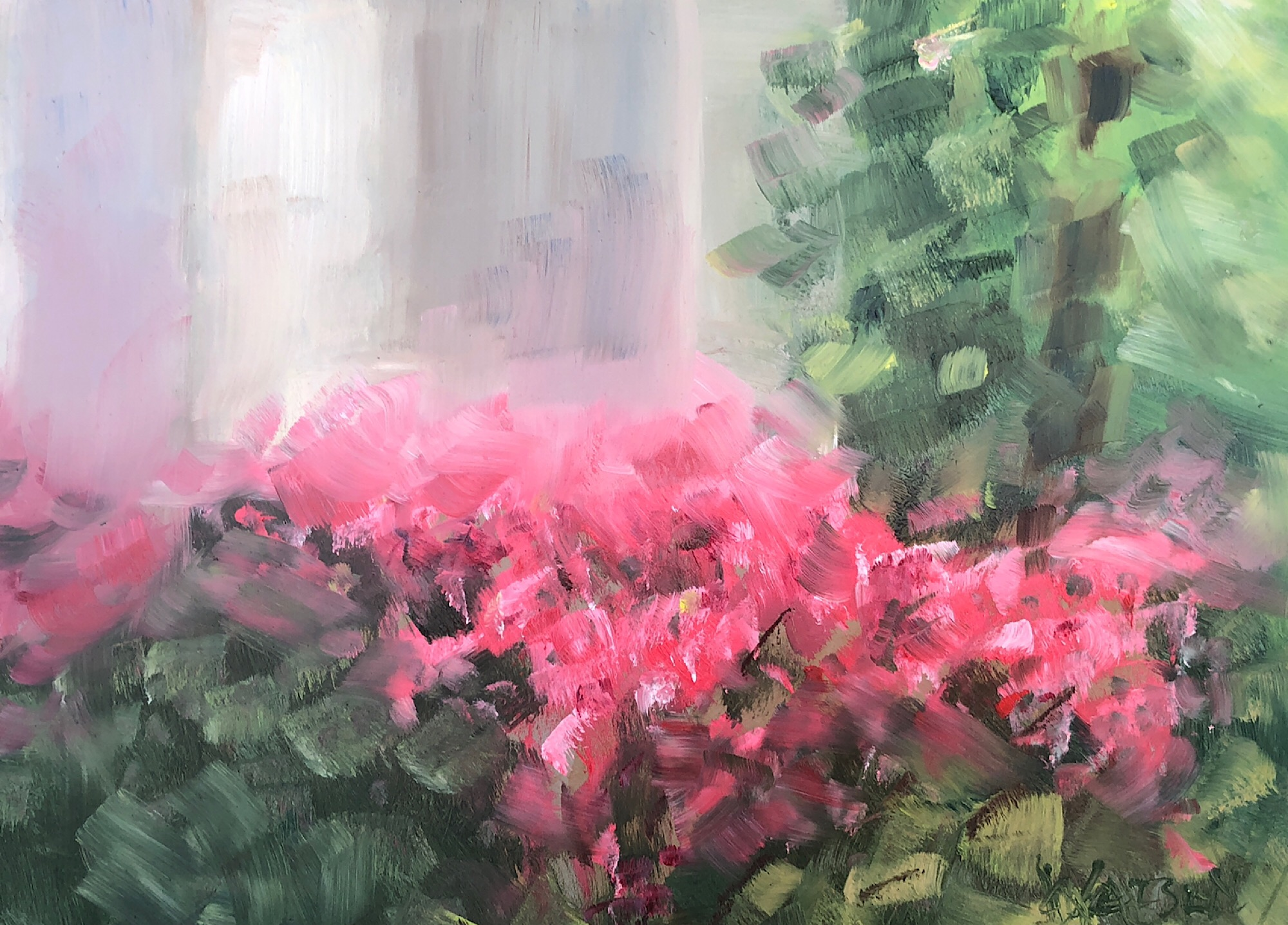 "Geoff Watson, ""Azaleas,"" May daily painting #10, oil on panel, 8"" x 10,"" 2019."