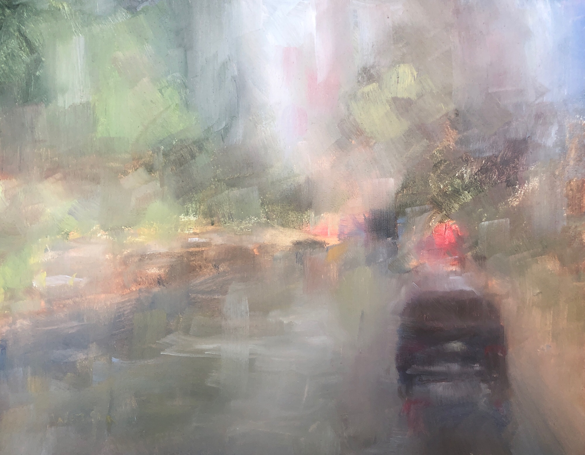 "Geoff Watson, ""After the rain,"" May daily painting #11, oil on panel, 8"" x 10,"" 2019."