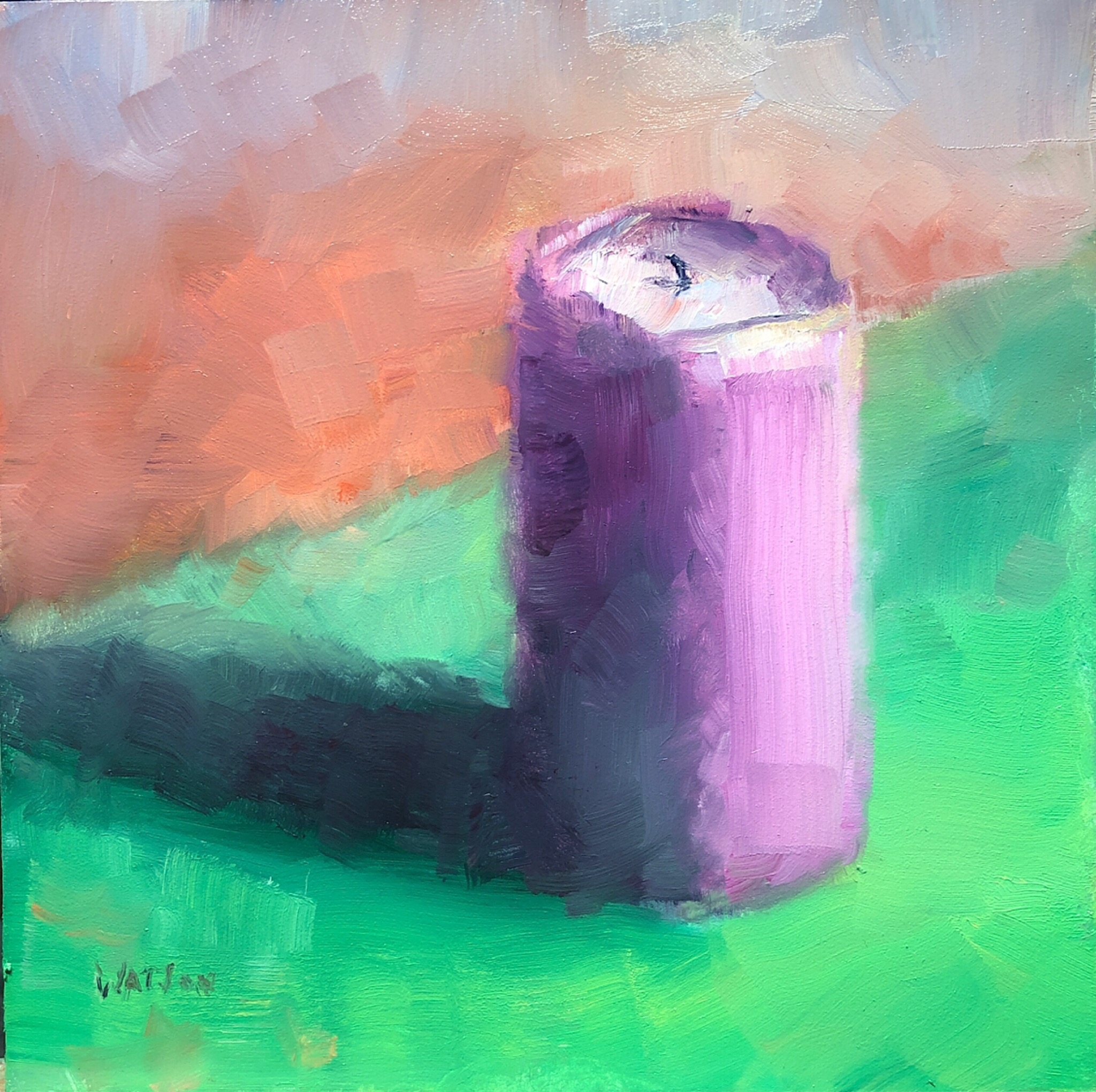 "Geoff Watson, ""Candle,"" May daily painting #13, oil on panel, 6"" x 6,"" 2019."