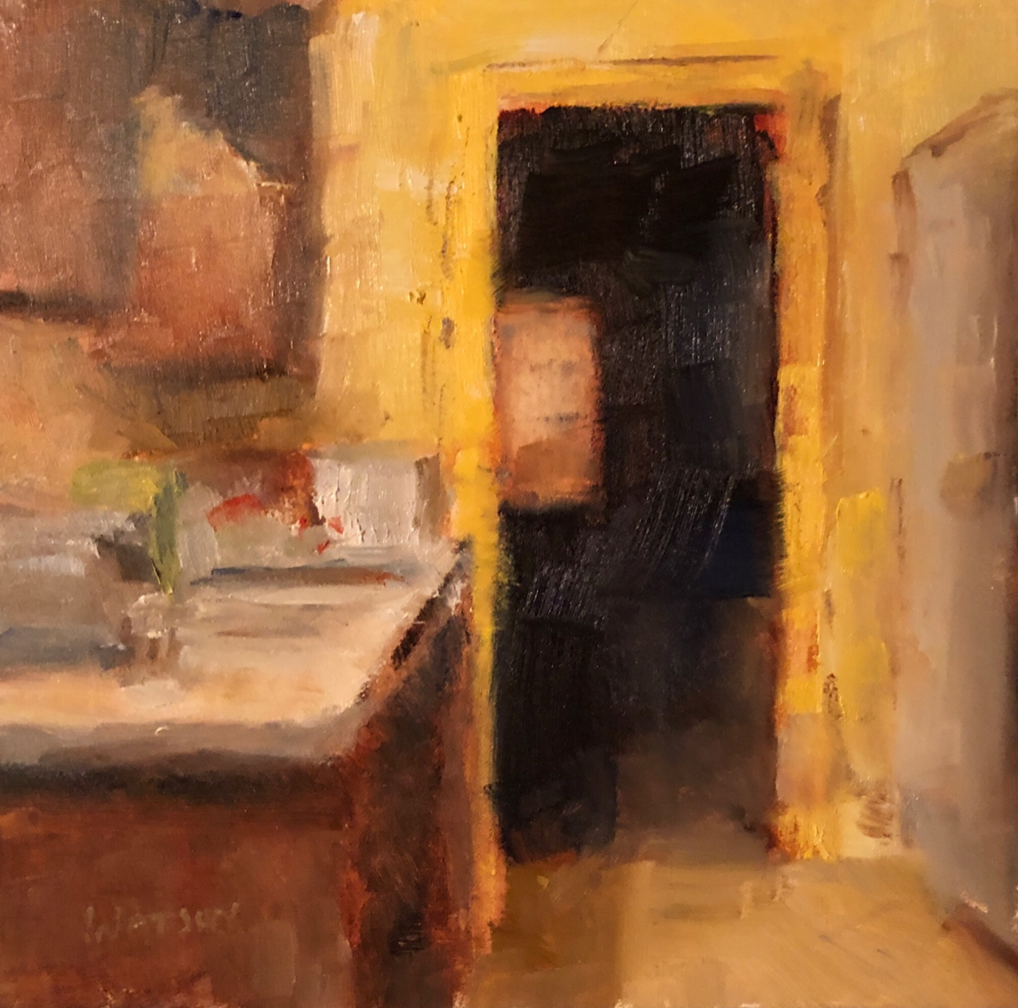 "Geoff Watson, ""Interiors,"" May daily painting #15, oil on panel, 6"" x 6,"" 2019."