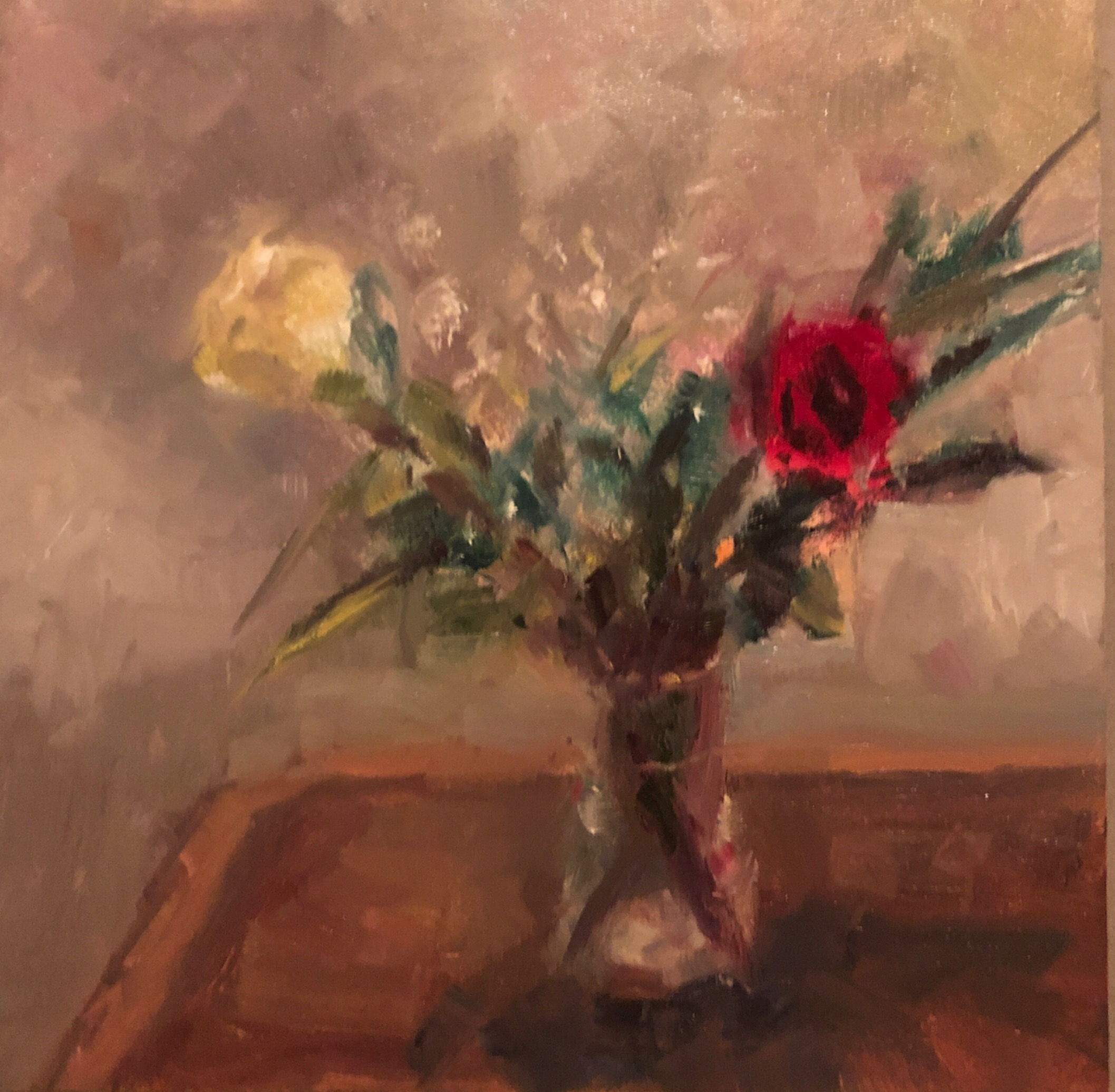 "Geoff Watson, ""Floral sketch (in progress),"" May daily painting #21, oil on panel, 6"" x 6,"" 2019."
