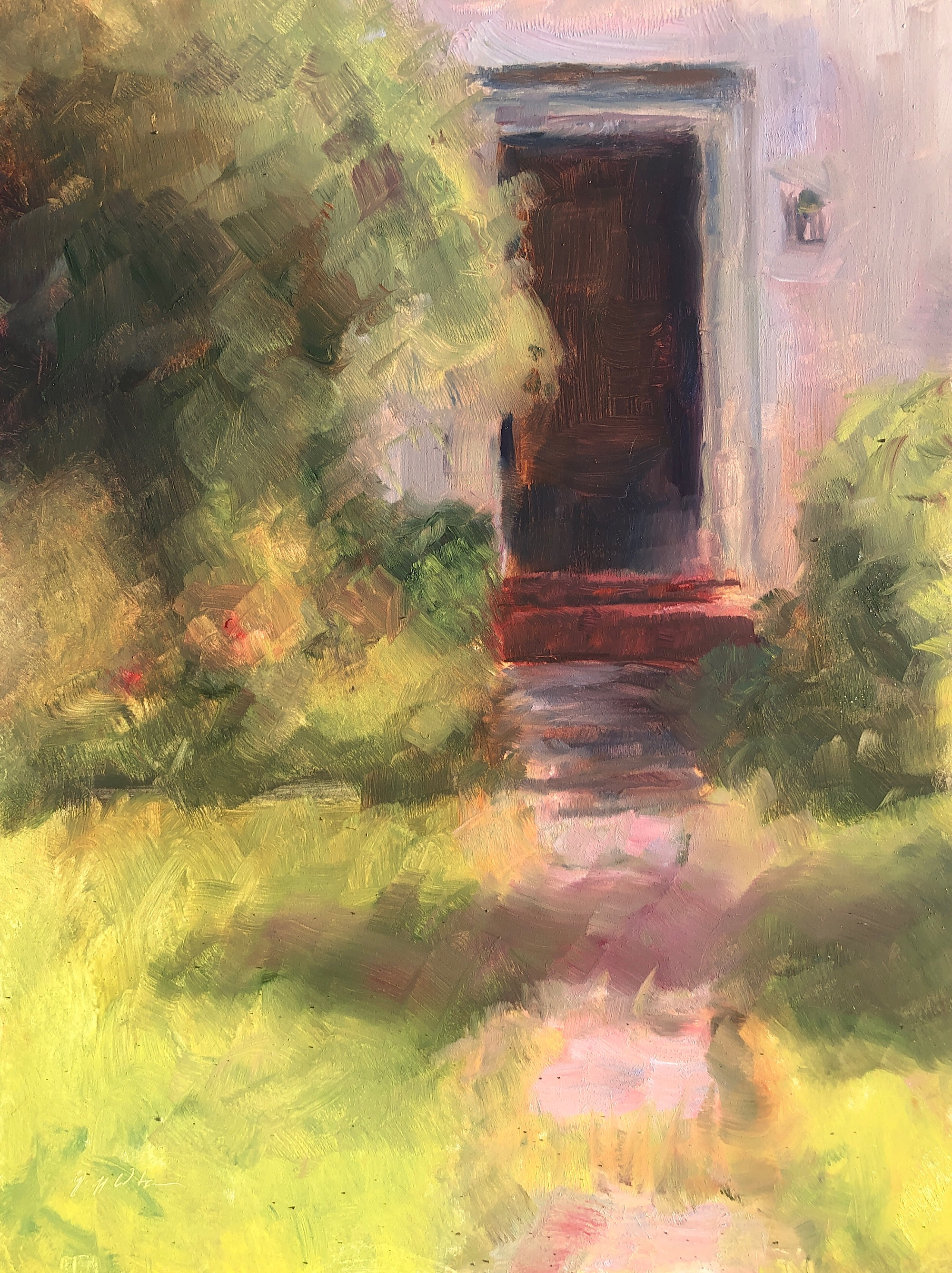 "Geoff Watson, ""Front walkway,"" May daily painting #22, oil on panel, 9"" x 12,"" 2019."