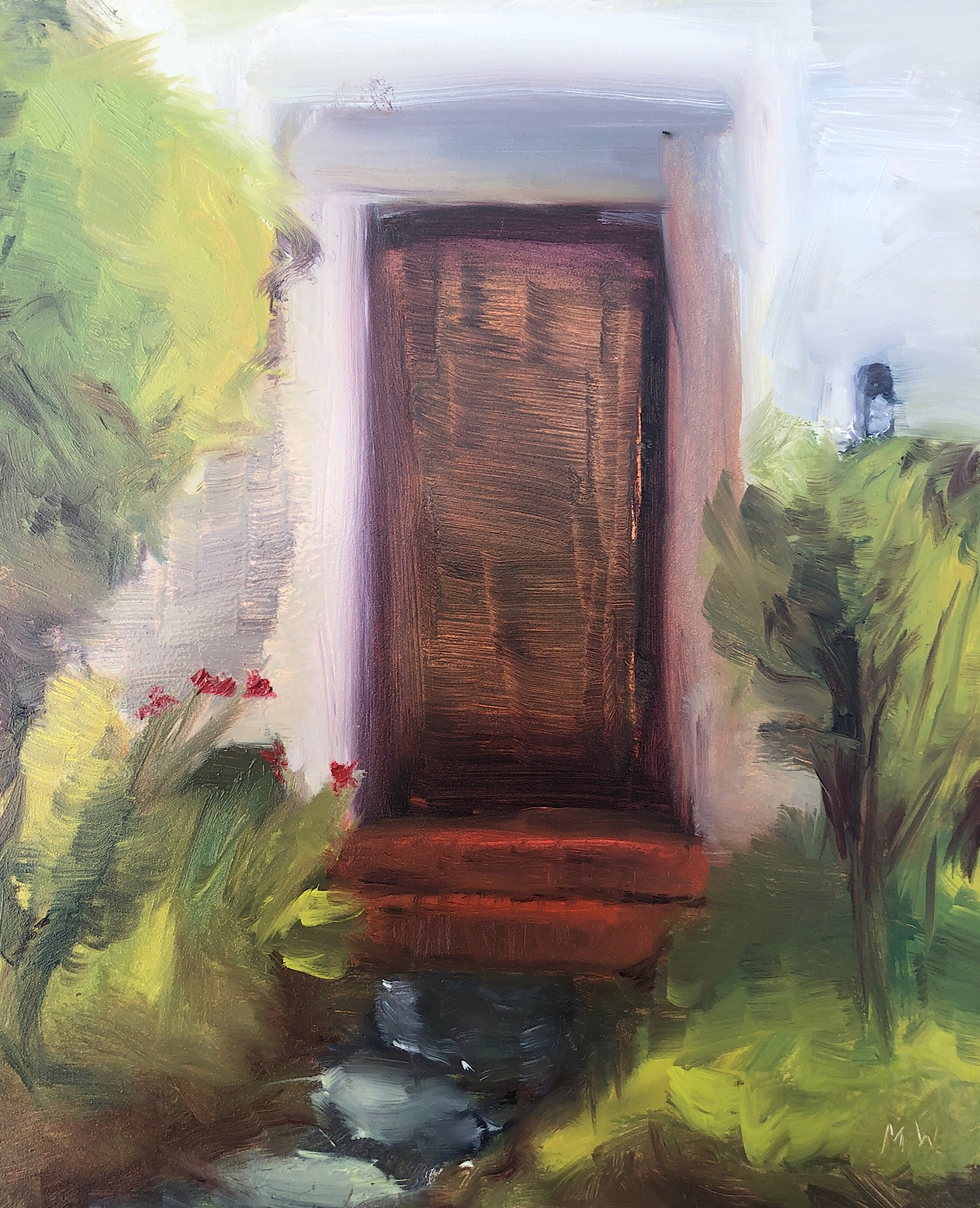 "Maddie Watson, ""The front door,"" oil on panel, 8"" x 10,"" 2019."