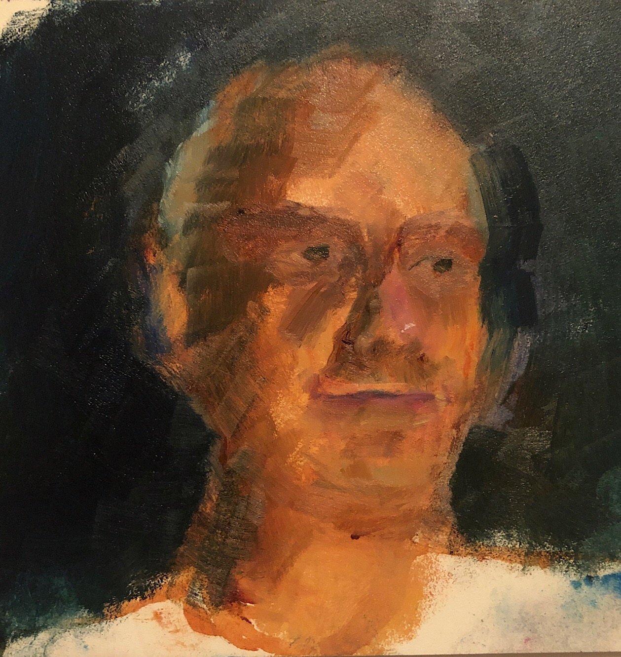 "Geoff Watson, ""Goofy self-portrait (in progress),"" study, May daily painting #24, oil on panel, 6"" x 6,"" 2019."