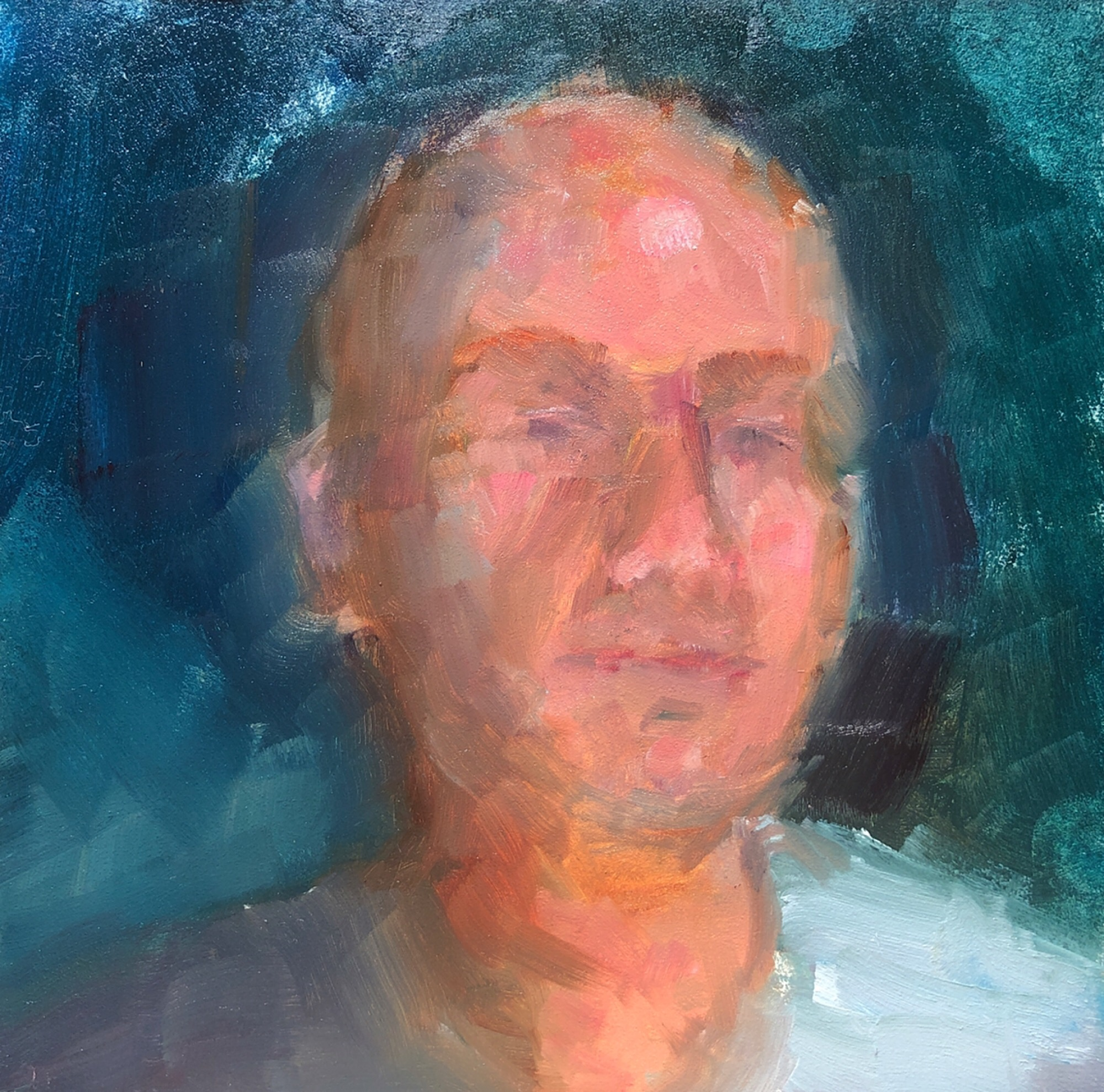 """Geoff Watson, """"Improved self-portrait (in progress),"""" May daily painting #25, study, oil on panel, 6"""" x 6,"""" 2019."""