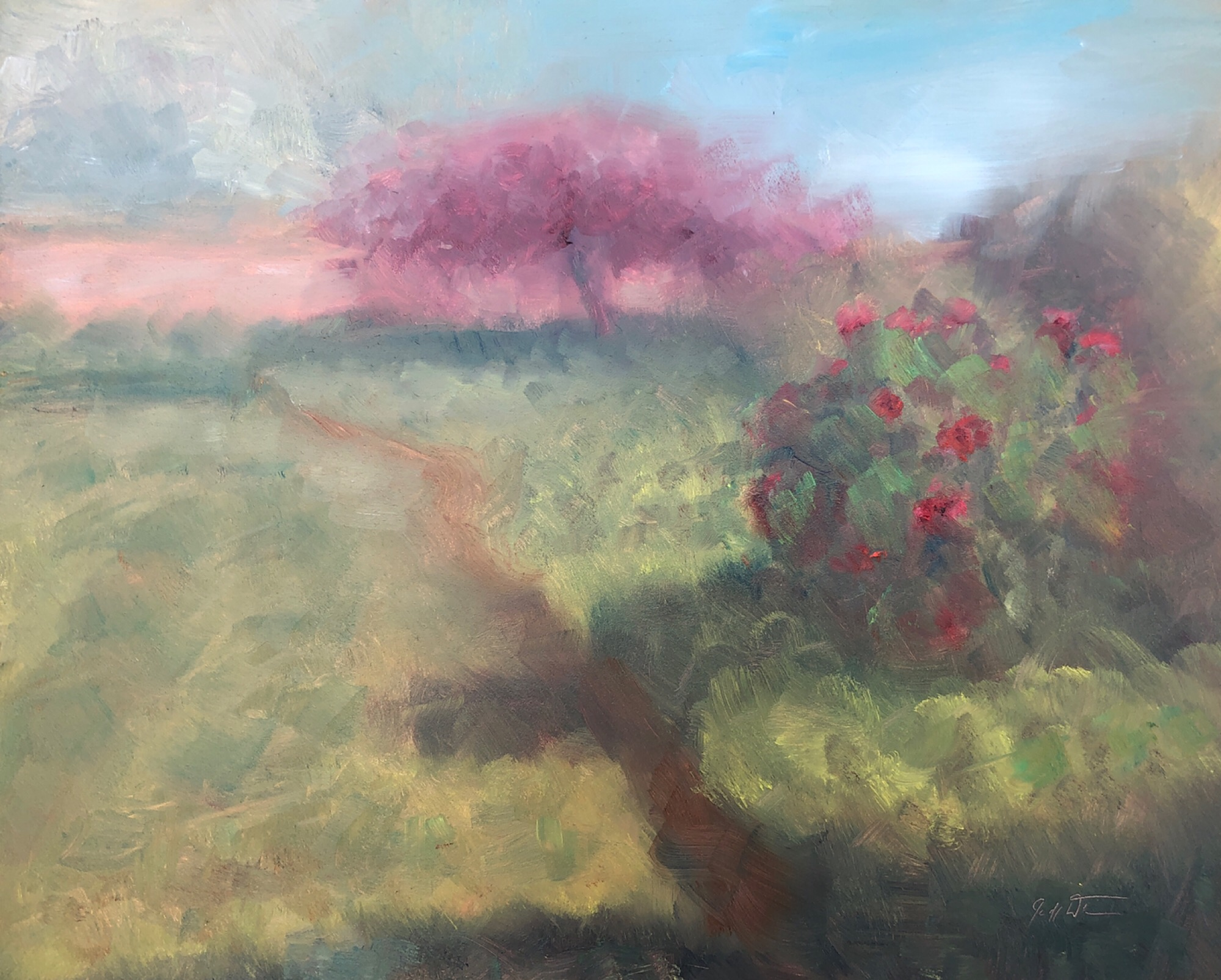 "Geoff Watson, ""Rose bush,"" May daily painting #27, oil on panel, 8"" x 10,"" 2019."