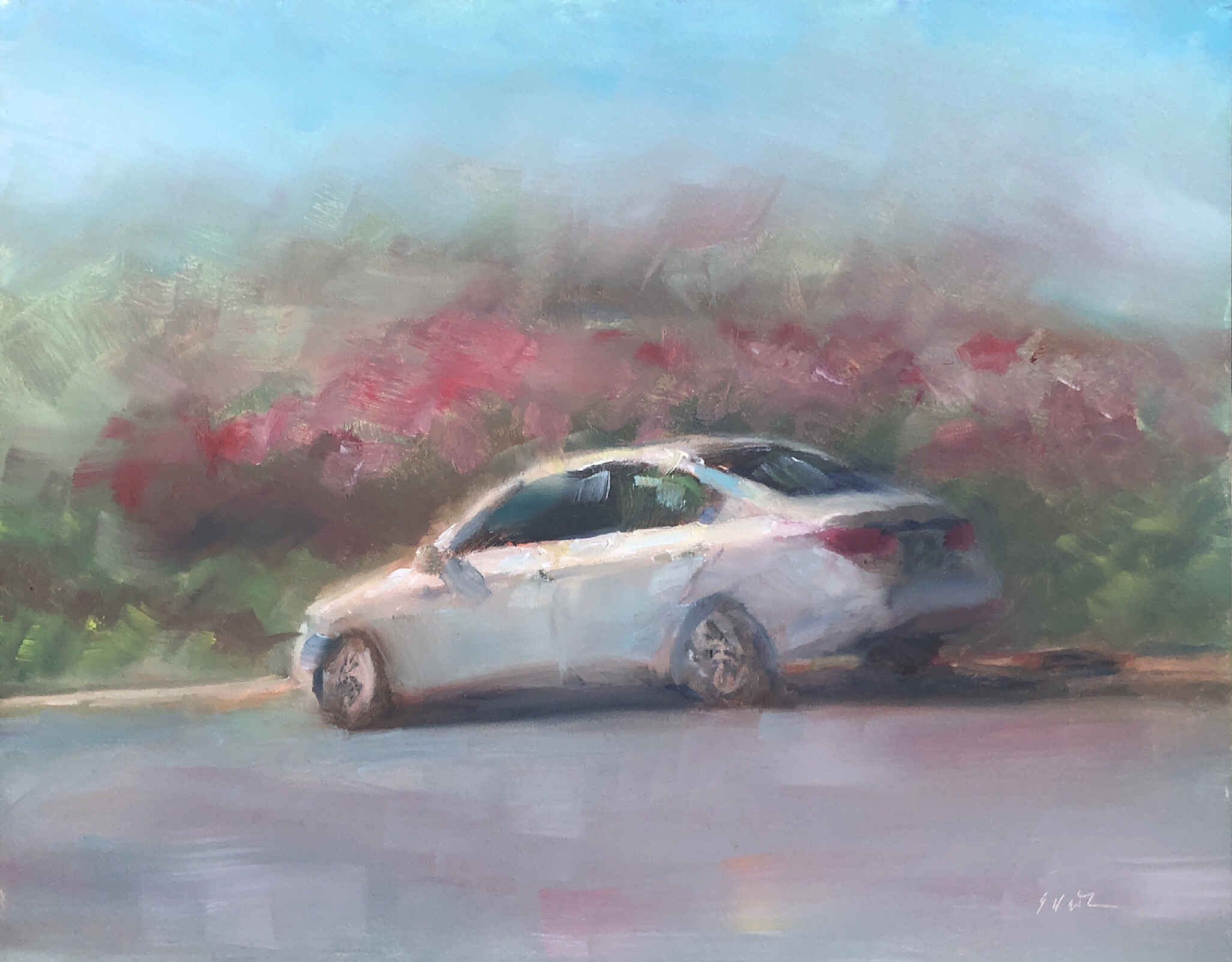 "Geoff Watson, ""Portrait of a Honda Accord,"" May daily painting #29, oil on panel, 8"" x 10,"" 2019."