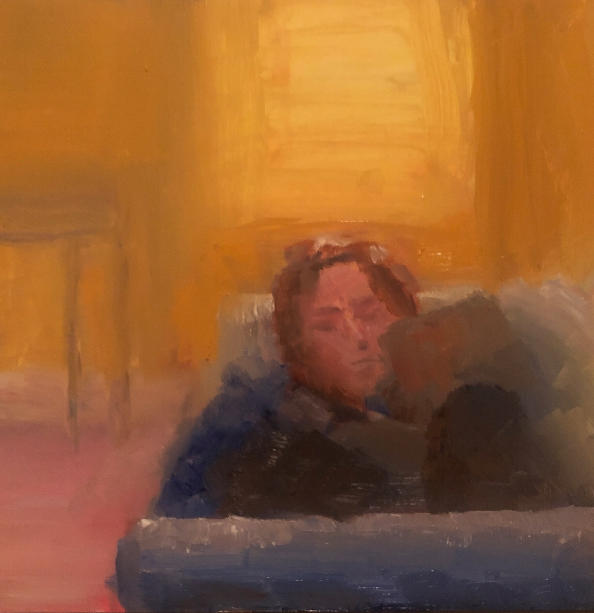"Geoff Watson, ""On the couch (study),"" May daily painting #31, oil on panel, 8"" x 8,"" 2019."