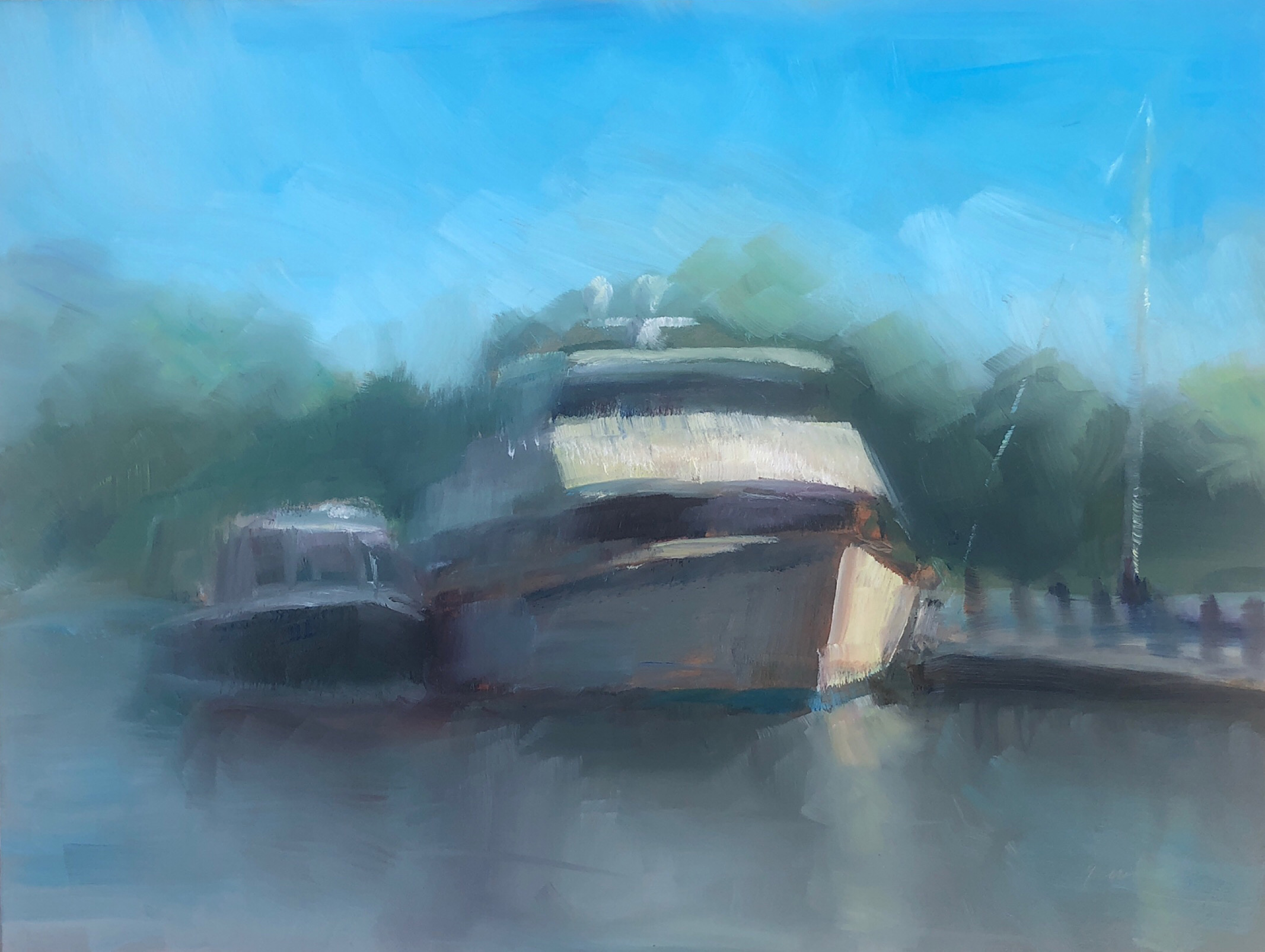 "Geoff Watson, ""The Yacht,"" June daily painting #2, oil on panel, 9"" x 12,"" 2019."