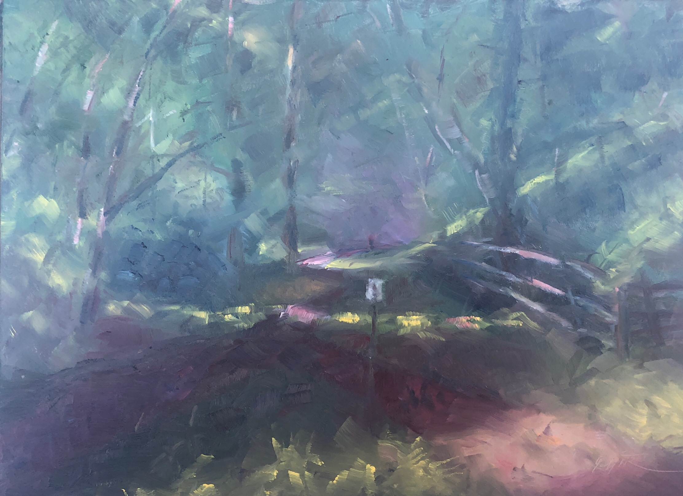 "Geoff Watson, ""Somerset trail,"" June daily painting #4, oil on panel, 9"" x 12,"" 2019."