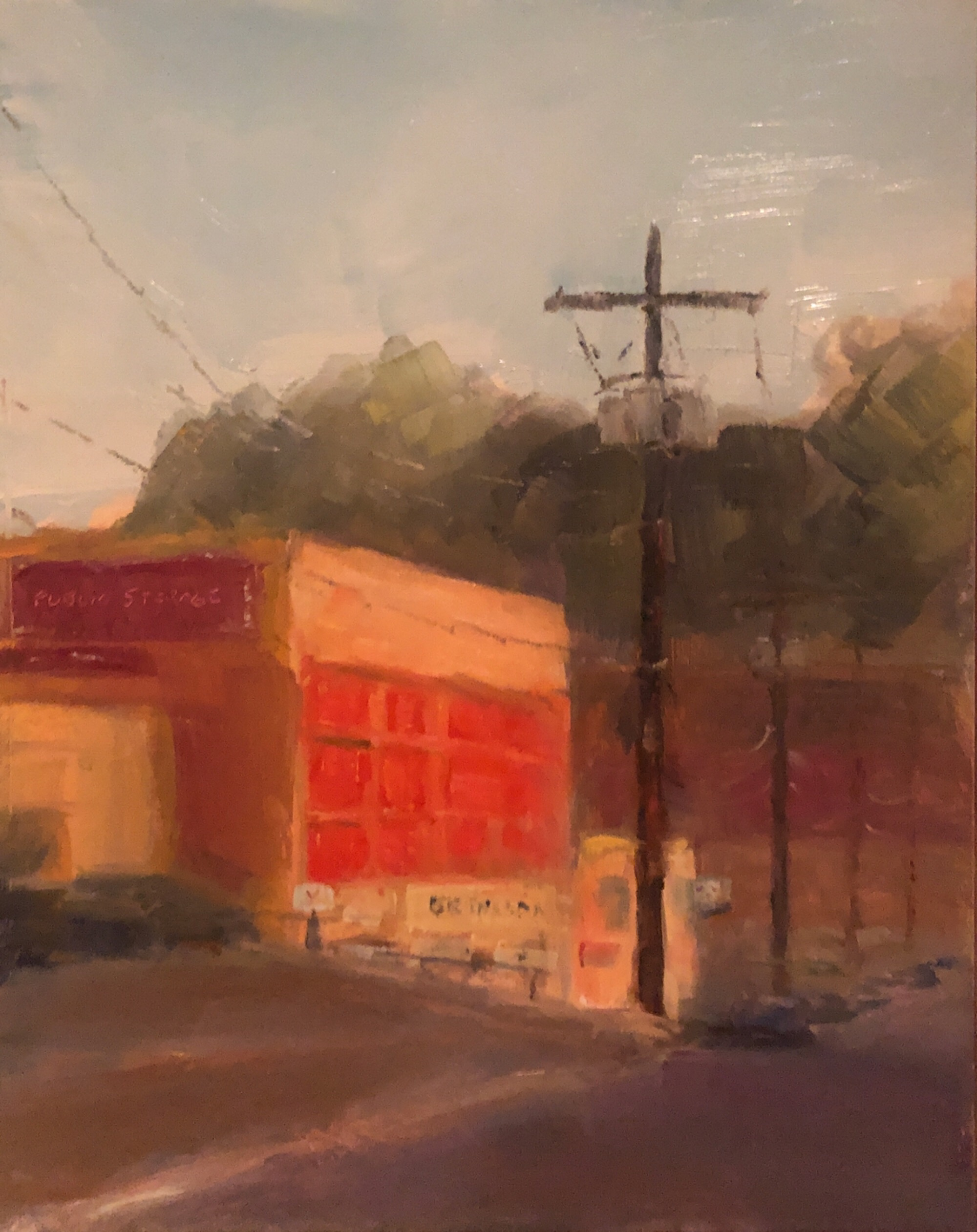 "Geoff Watson, ""Public storage (study),"" June daily painting #5, oil on panel, 8"" x 10,"" 2019."