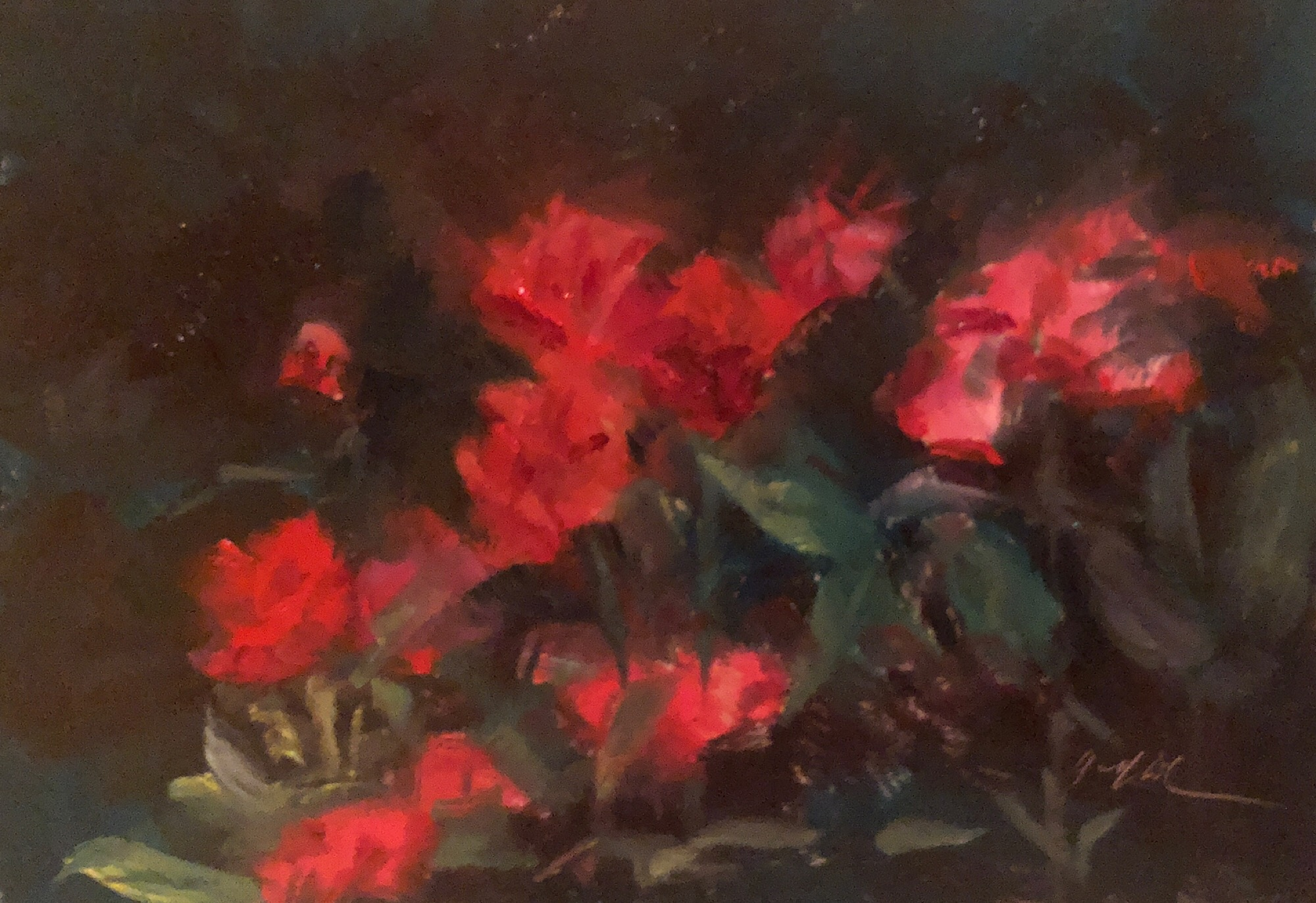"Geoff Watson, ""Roses,"" June daily painting #6, oil on panel, 5"" x 7,"" 2019."