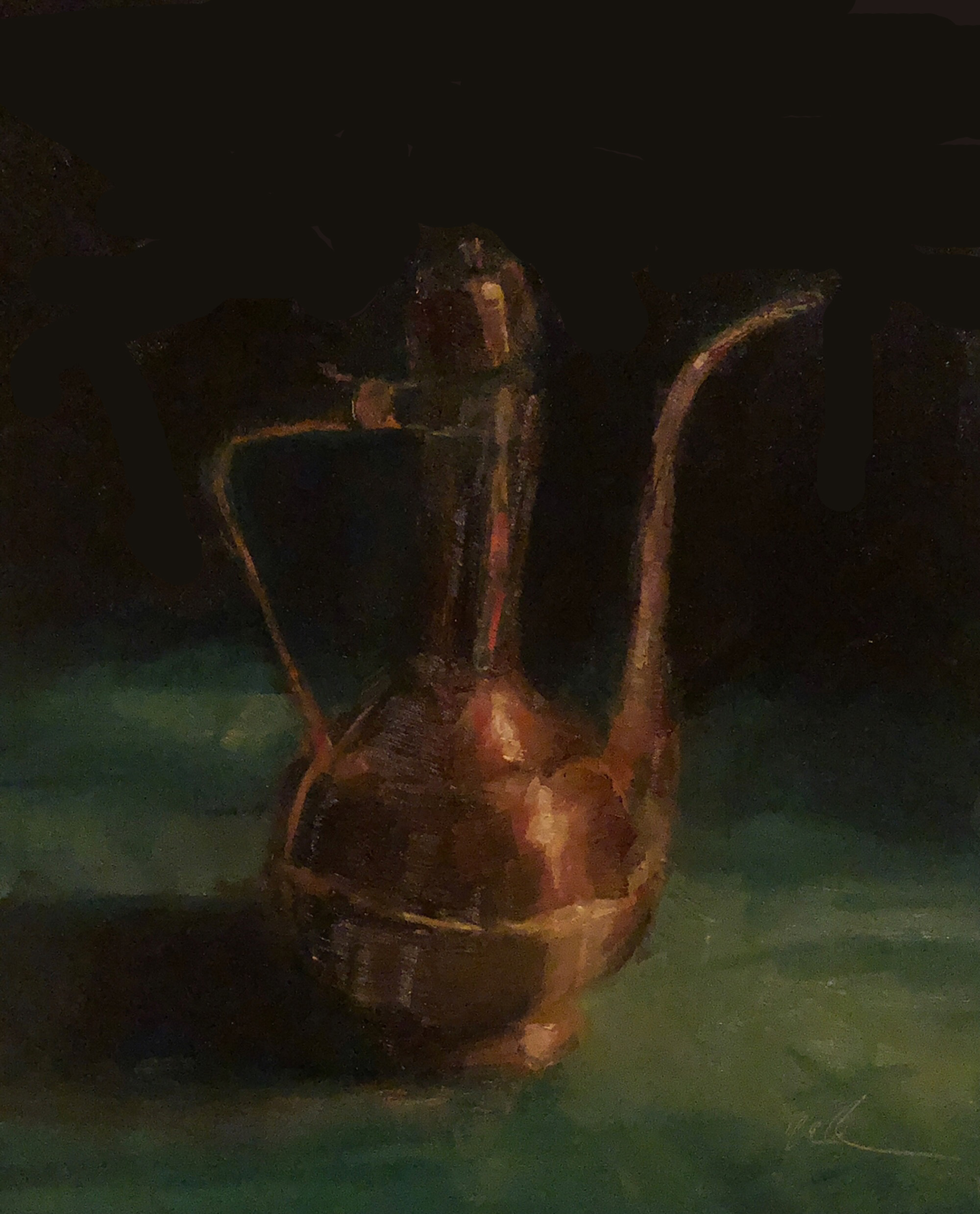 "Geoff Watson, ""Copper pitcher,"" June daily painting #7, oil on panel, 8"" x 10,"" 2019."