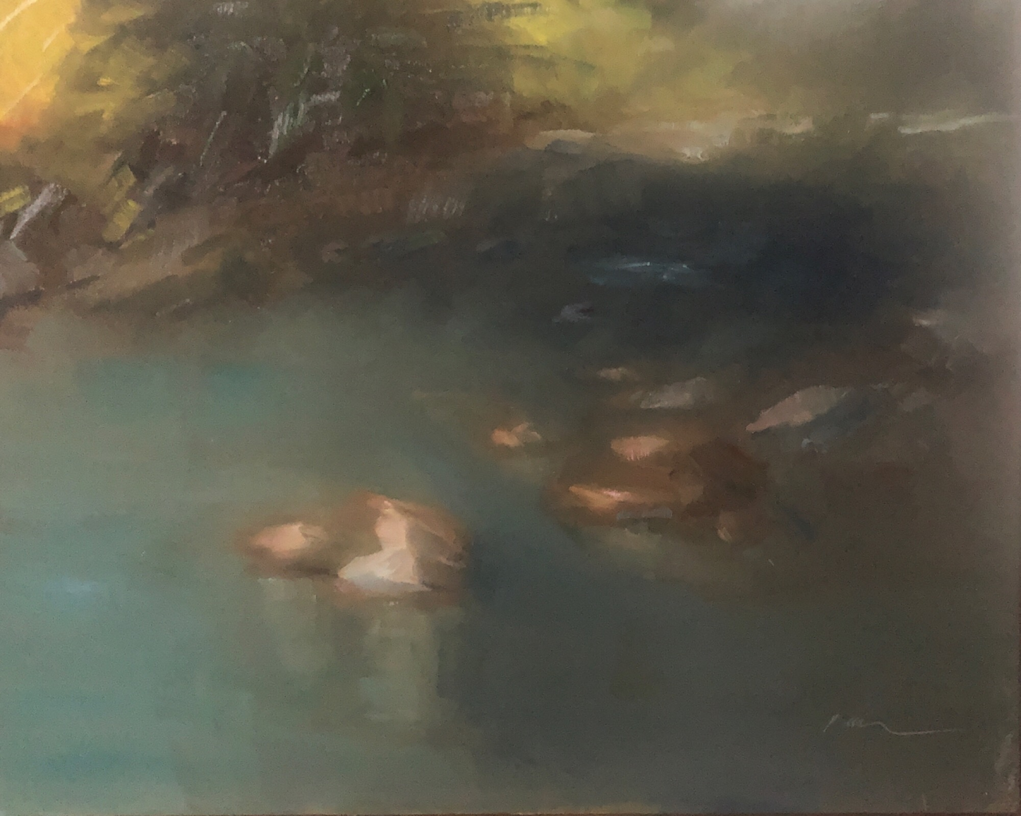 "Geoff Watson, ""Creek study (unfinished),"" June daily painting #8, oil on panel, 8"" x 10,"" 2019."