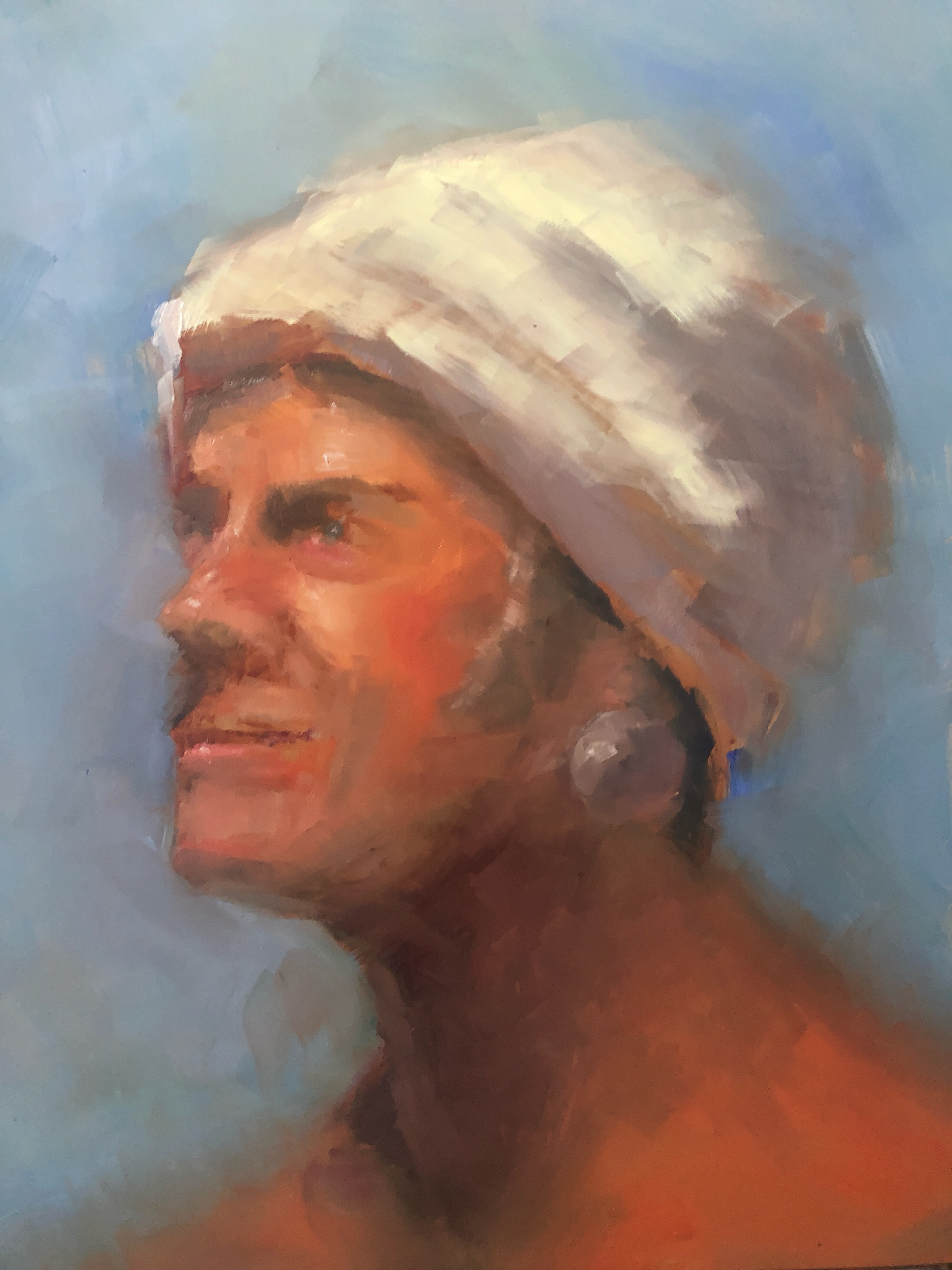 "Geoff Watson, ""Turban and earring,"" June daily painting #9, oil on panel, 11"" x 14,"" 2019."