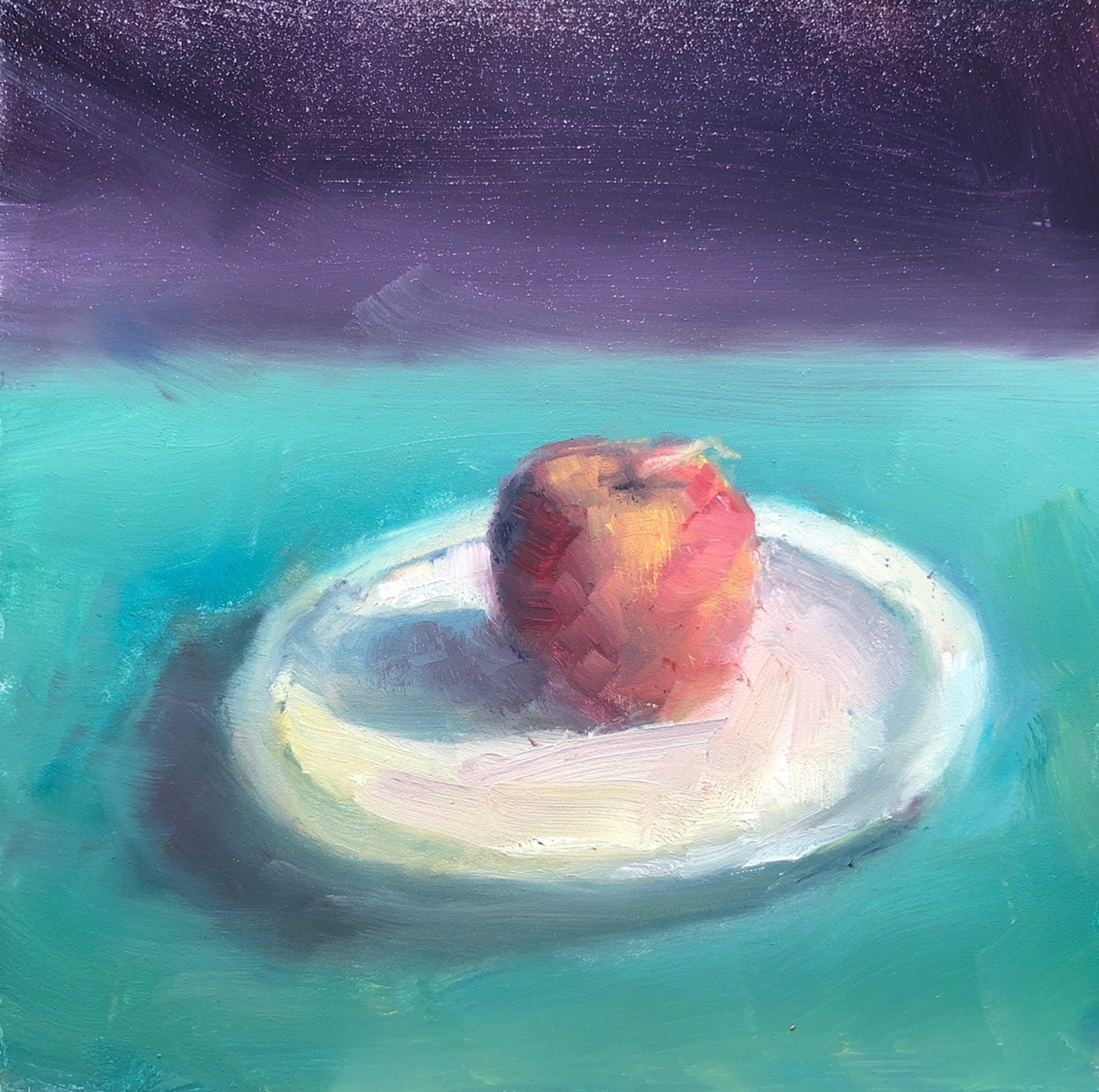"Geoff Watson, ""Peach sketch (study),"" June daily painting #10, oil on panel, 6"" x 6,"" 2019."