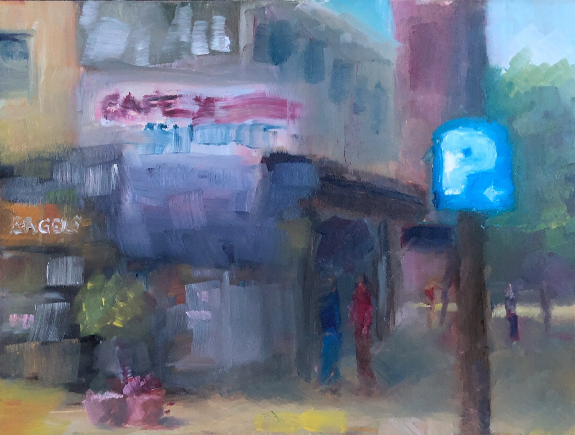 "Geoff Watson, ""Corner cafe (unfinished study),"" daily painting #42, oil on panel, 6"" x 8,"" 2019."