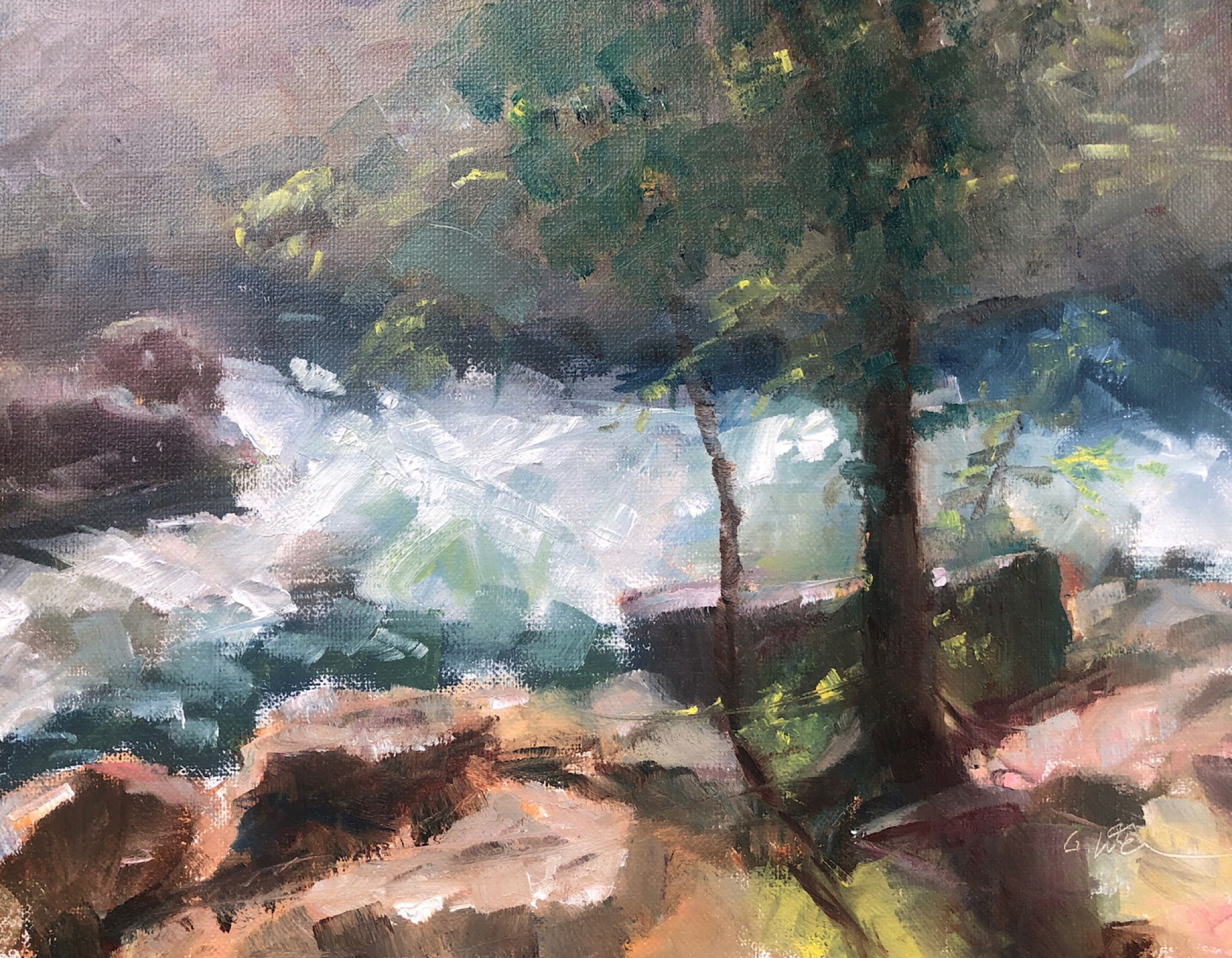 "Geoff Watson, ""Great Falls,"" June daily painting # 12, oil on linen, 8"" x 10,"" 2019."