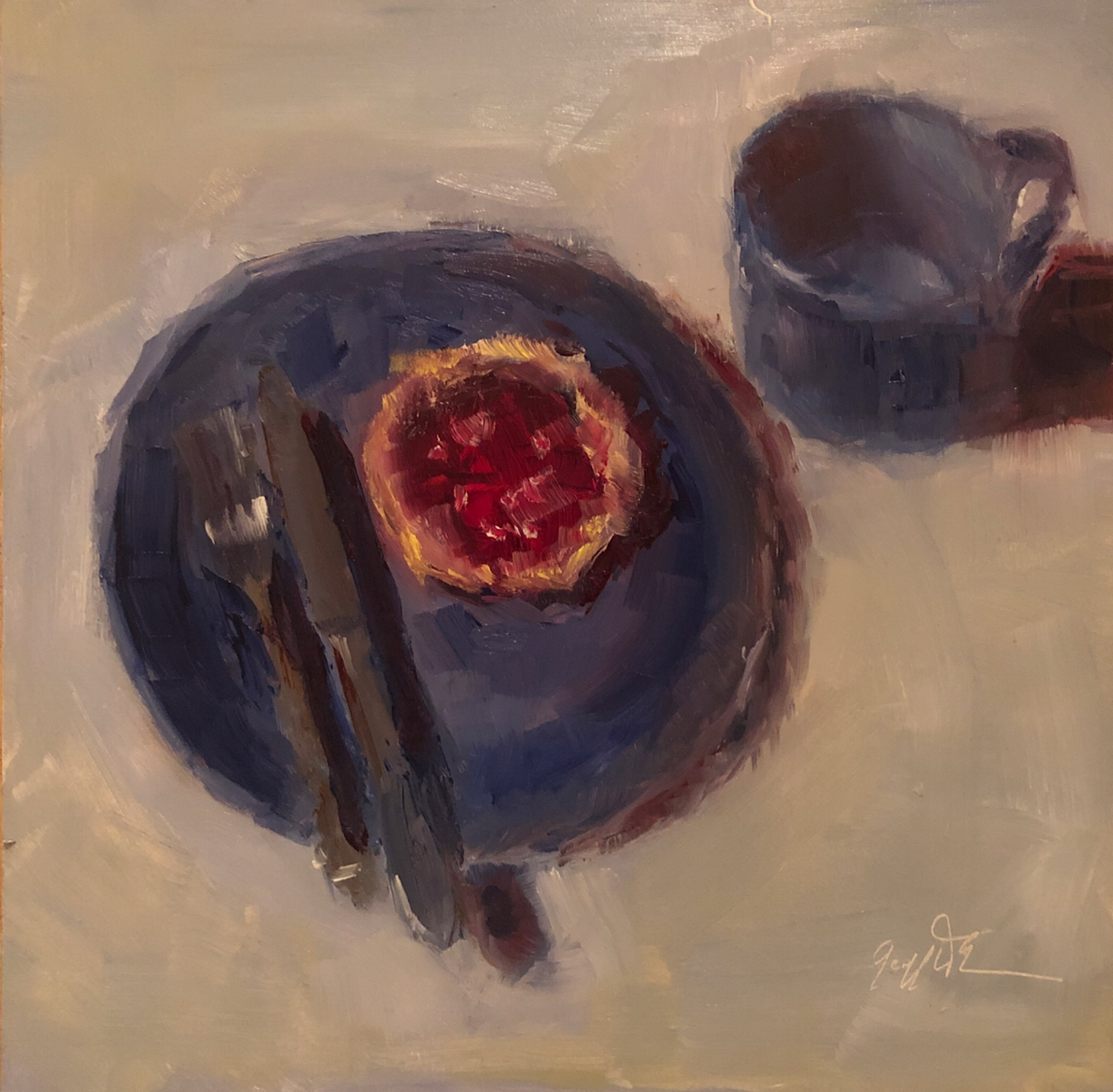 "Geoff Watson, ""English muffin,"" June daily painting #17, oil on panel, 8"" x 8,"" 2019."