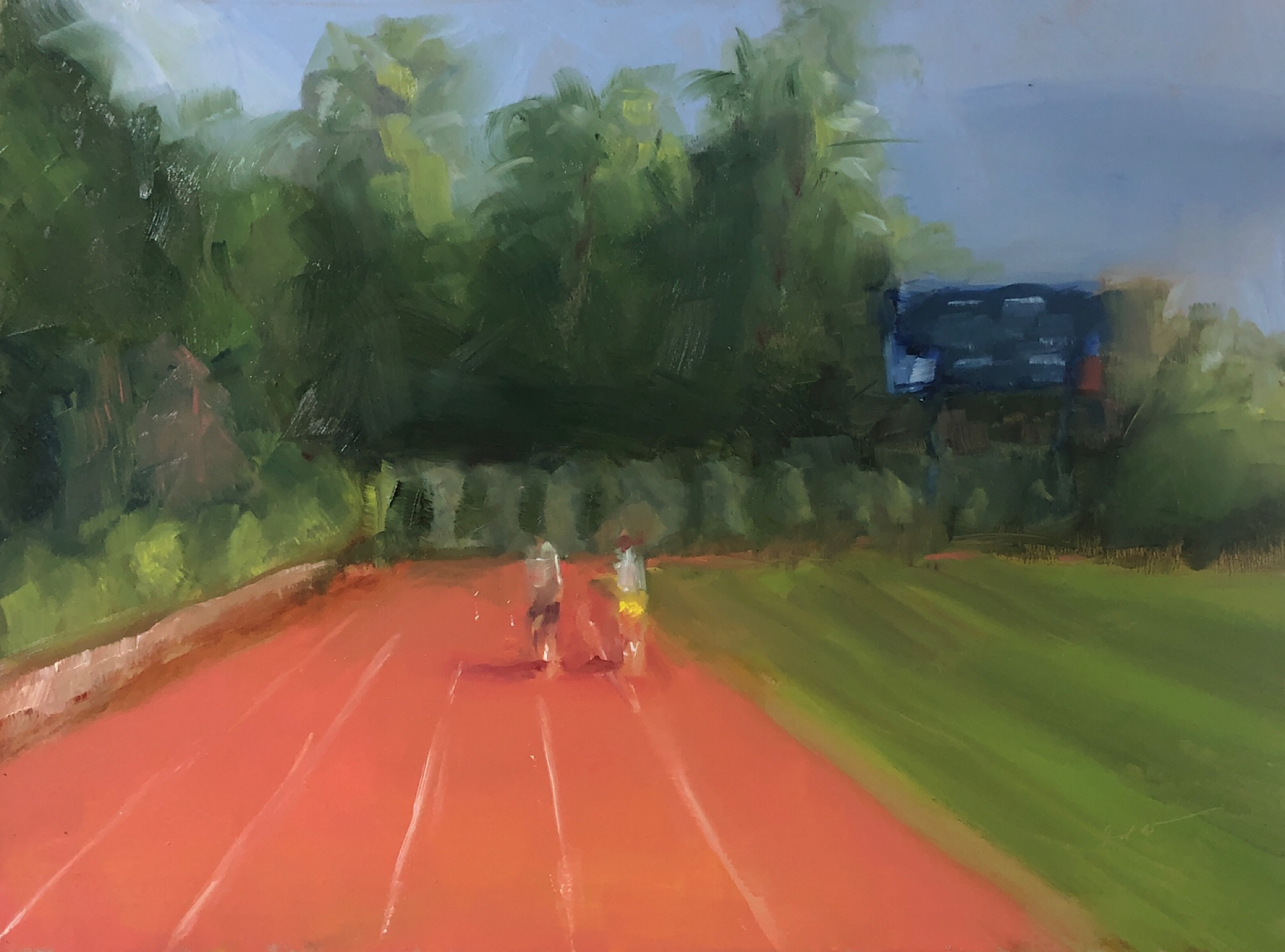 """Running at American University,"" June daily painting #18, oil on panel, 9"" x 12,"" 2019."