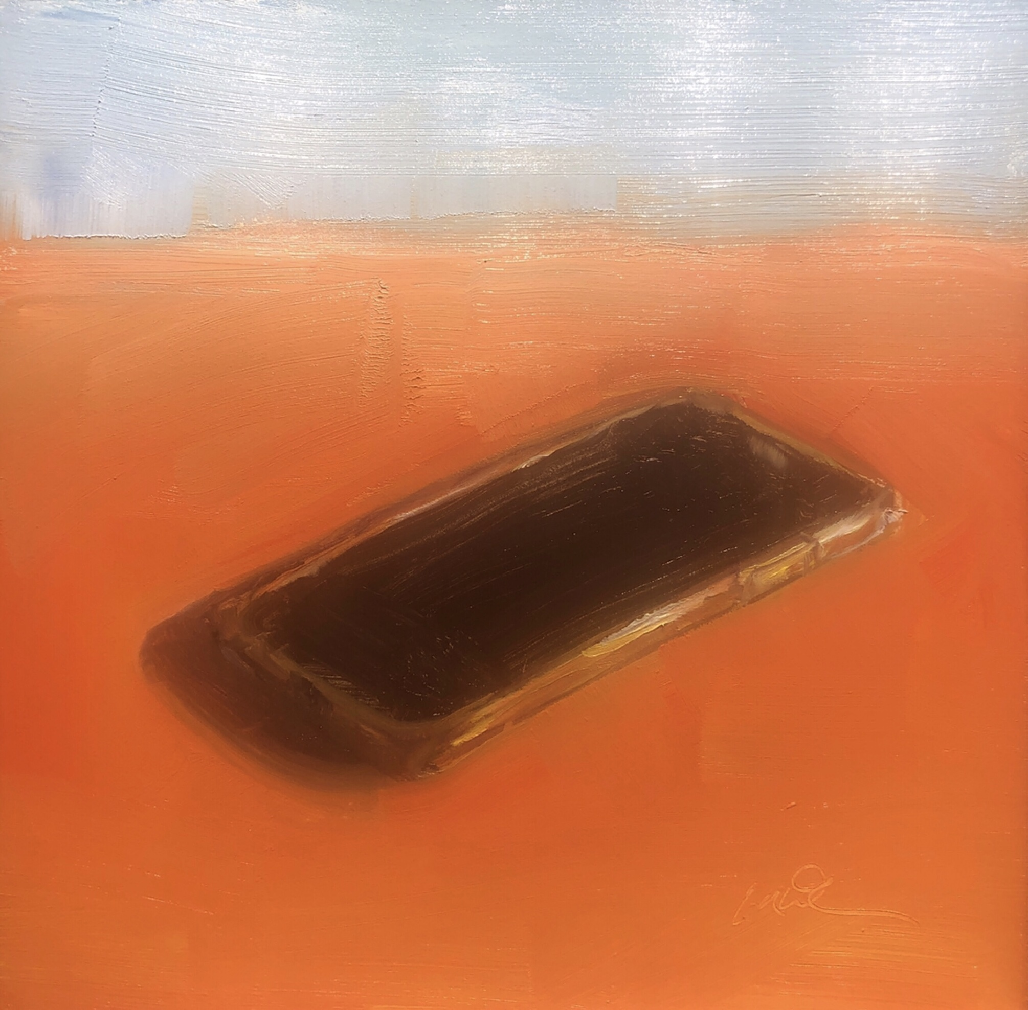 "Geoff Watson, ""iPhone sketch,"" June daily painting #22, oil on panel, 6"" x 6,"" 2019."