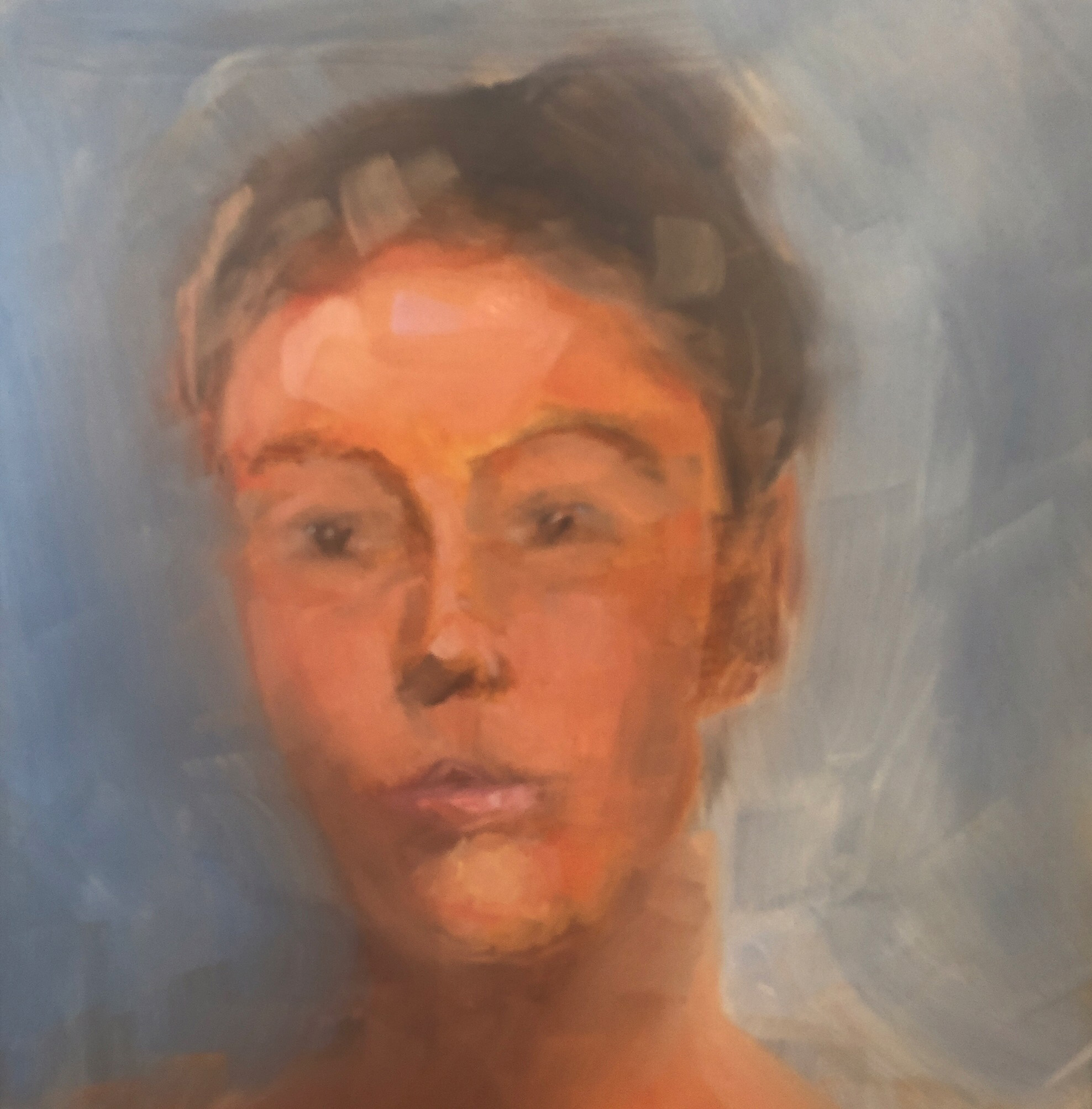 """Geoff Watson, """"Amy,"""" June daily painting #23, oil on panel, 11"""" x 14,"""" 2019."""