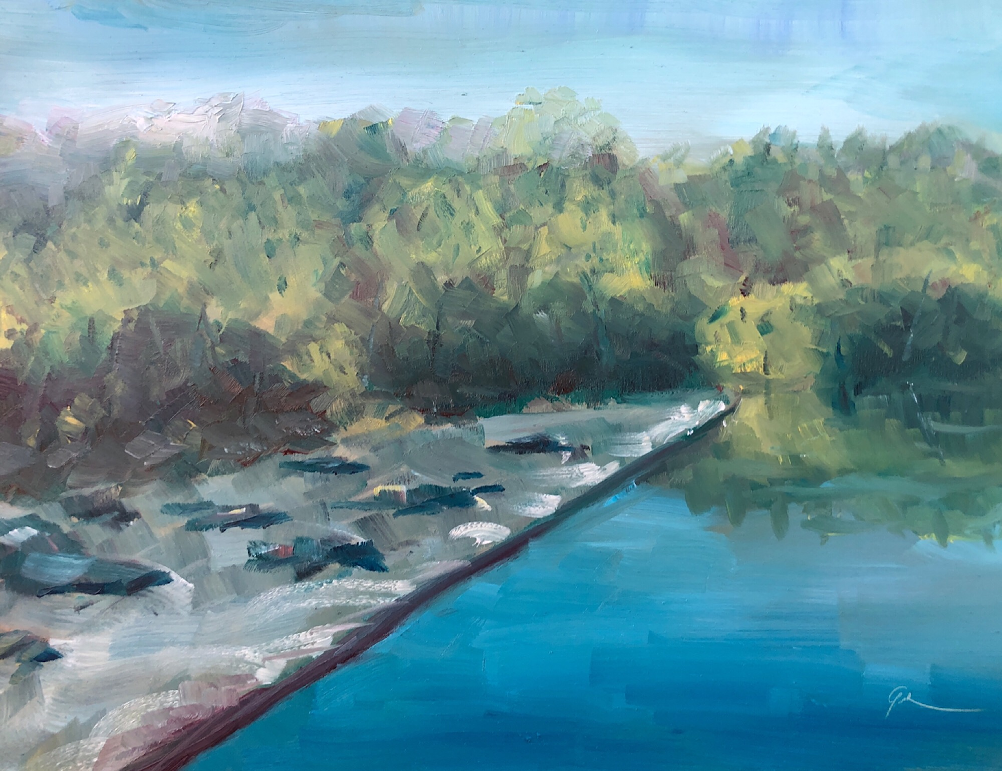 "Geoff Watson, ""Washington Aqueduct dam,"" June daily painting #24, oil on panel, 9"" x 12,"" 2019."