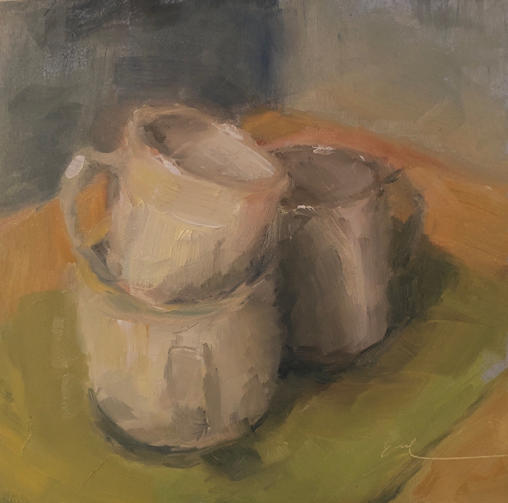 "Geoff Watson, ""Mugs (study),"" June daily painting #25, oil on panel, 6"" x 6,"" 2019."