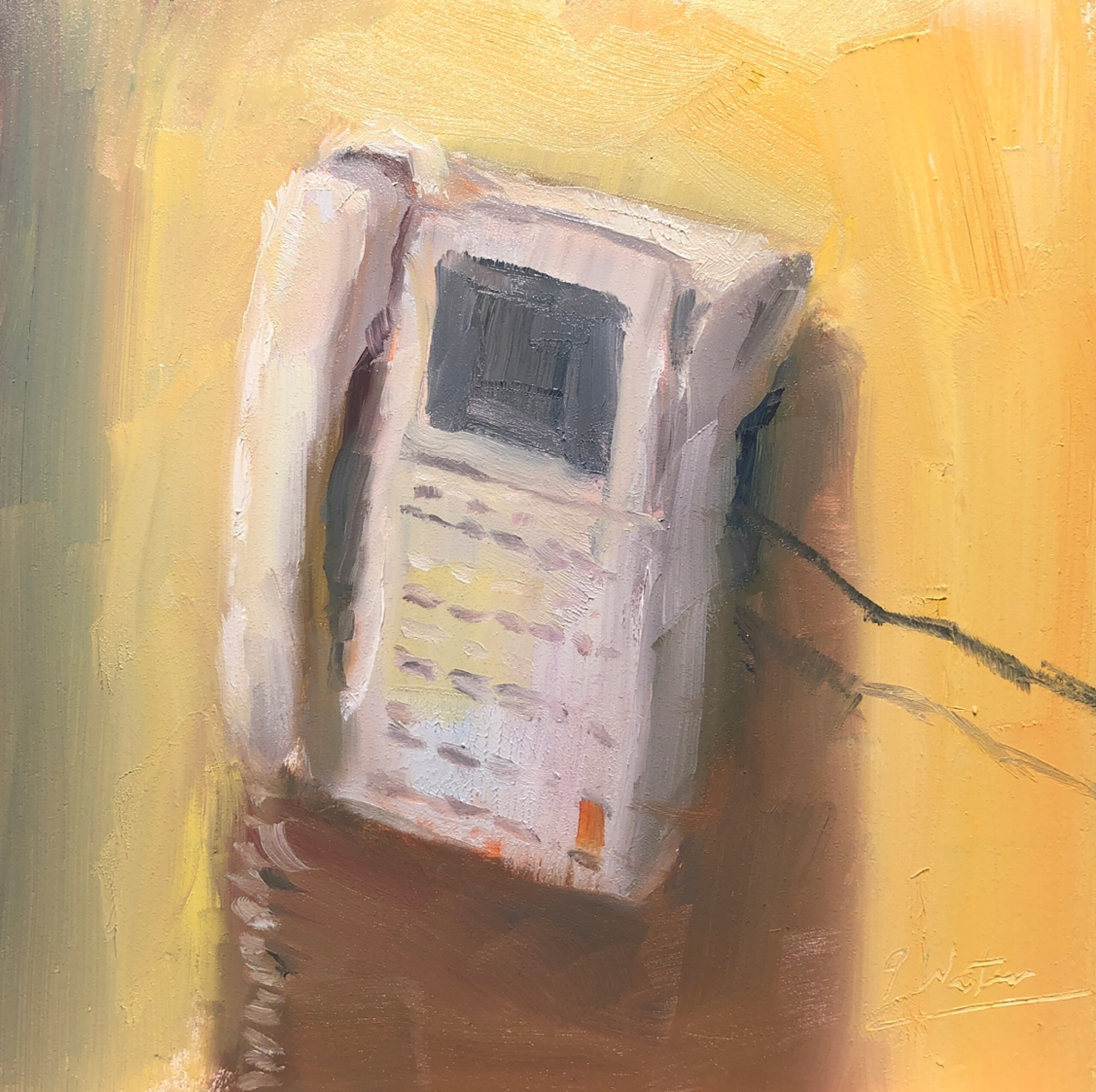"Geoff Watson, ""Telephone,"" June daily painting #27, oil on panel, 6"" x 6,"" 2019."