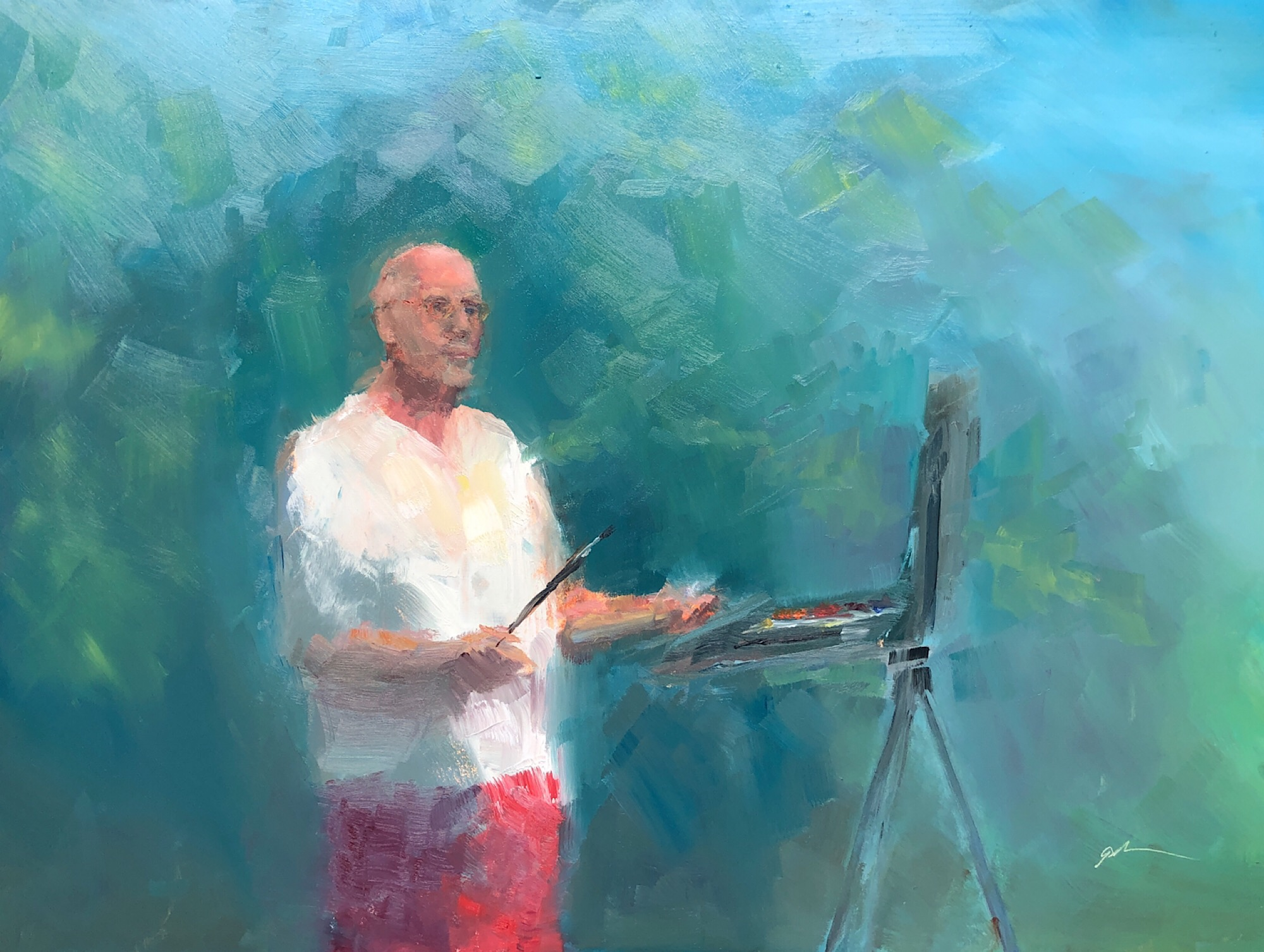 "Geoff Watson, ""At the easel (in progress, day 3),"" June daily painting #30, oil on panel, 12"" x 16,"" 2019."