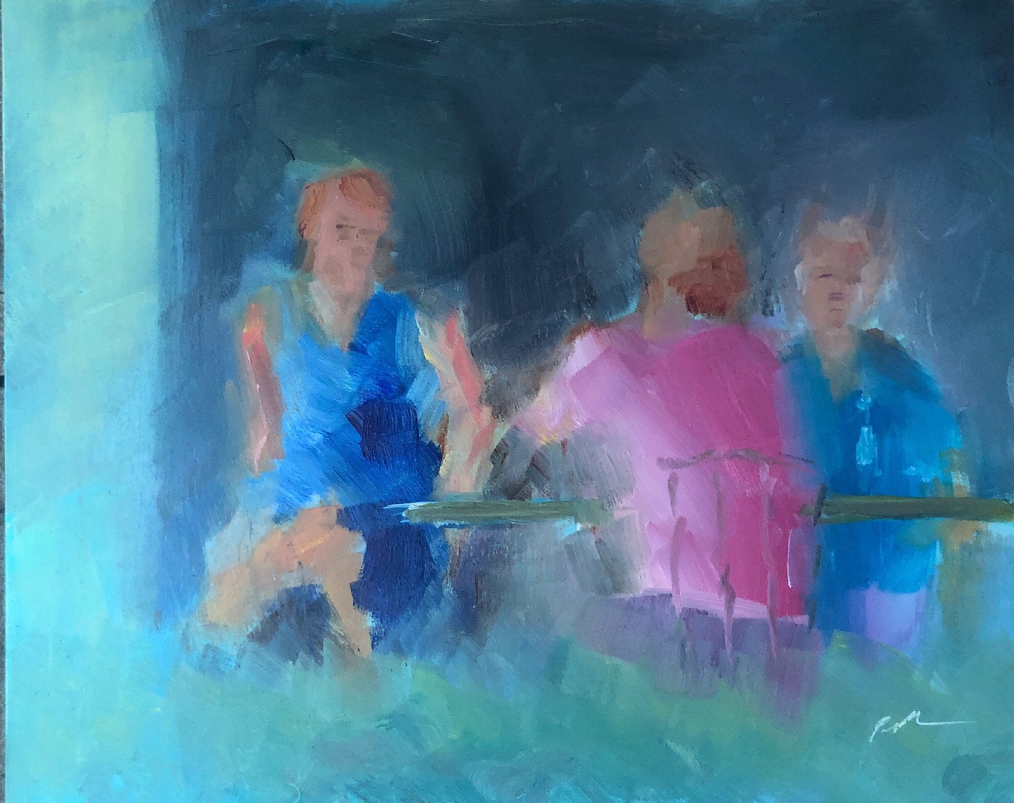 "Geoff Watson, ""Sketch of diners at Olazzo's,"" study, July daily painting #1, oil on panel, 8"" x 10,"" 2019."