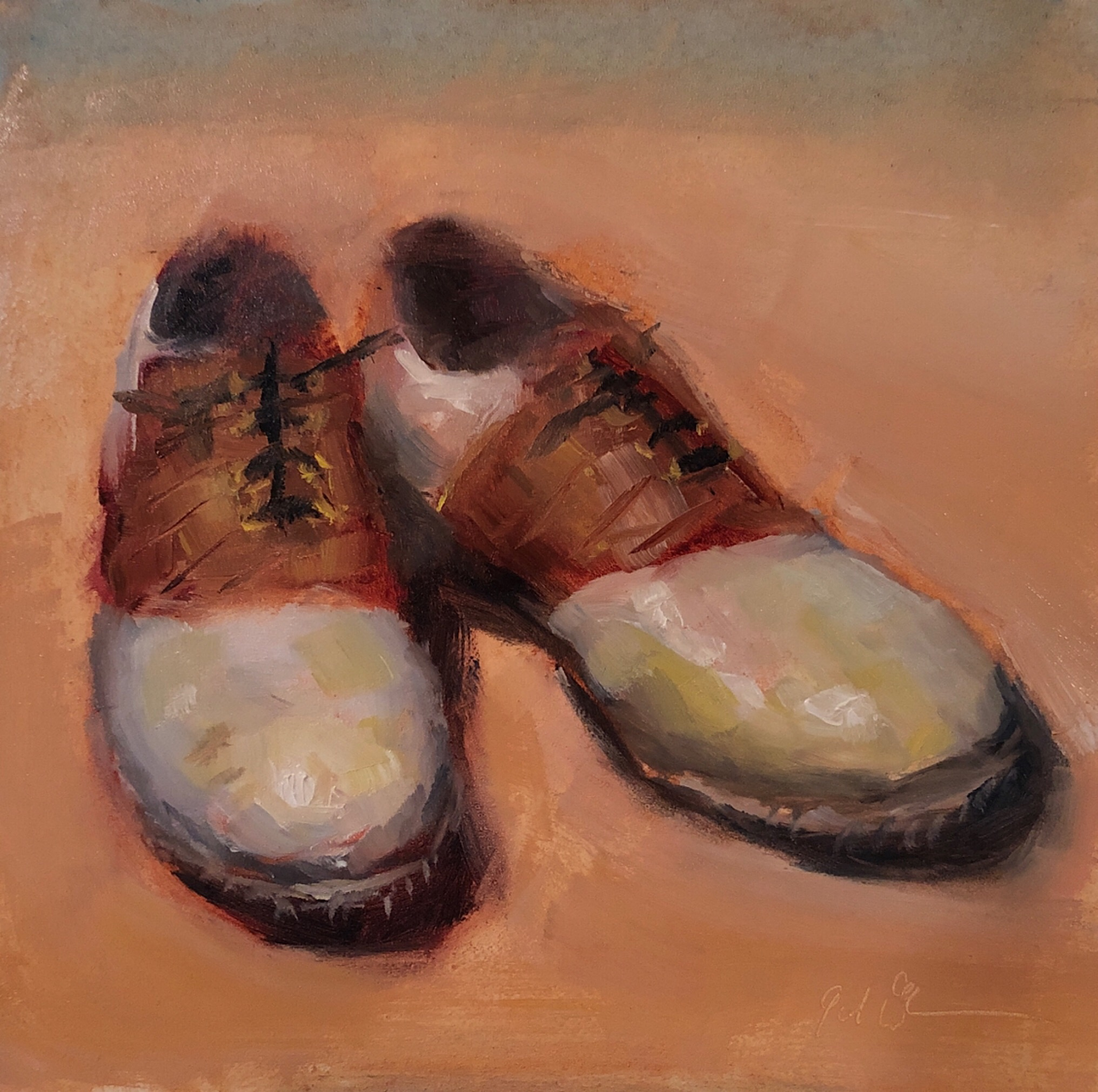 "Geoff Watson, ""Golf shoes,"" July daily painting #3, oil on panel, 6"" x 6,"" 2019."
