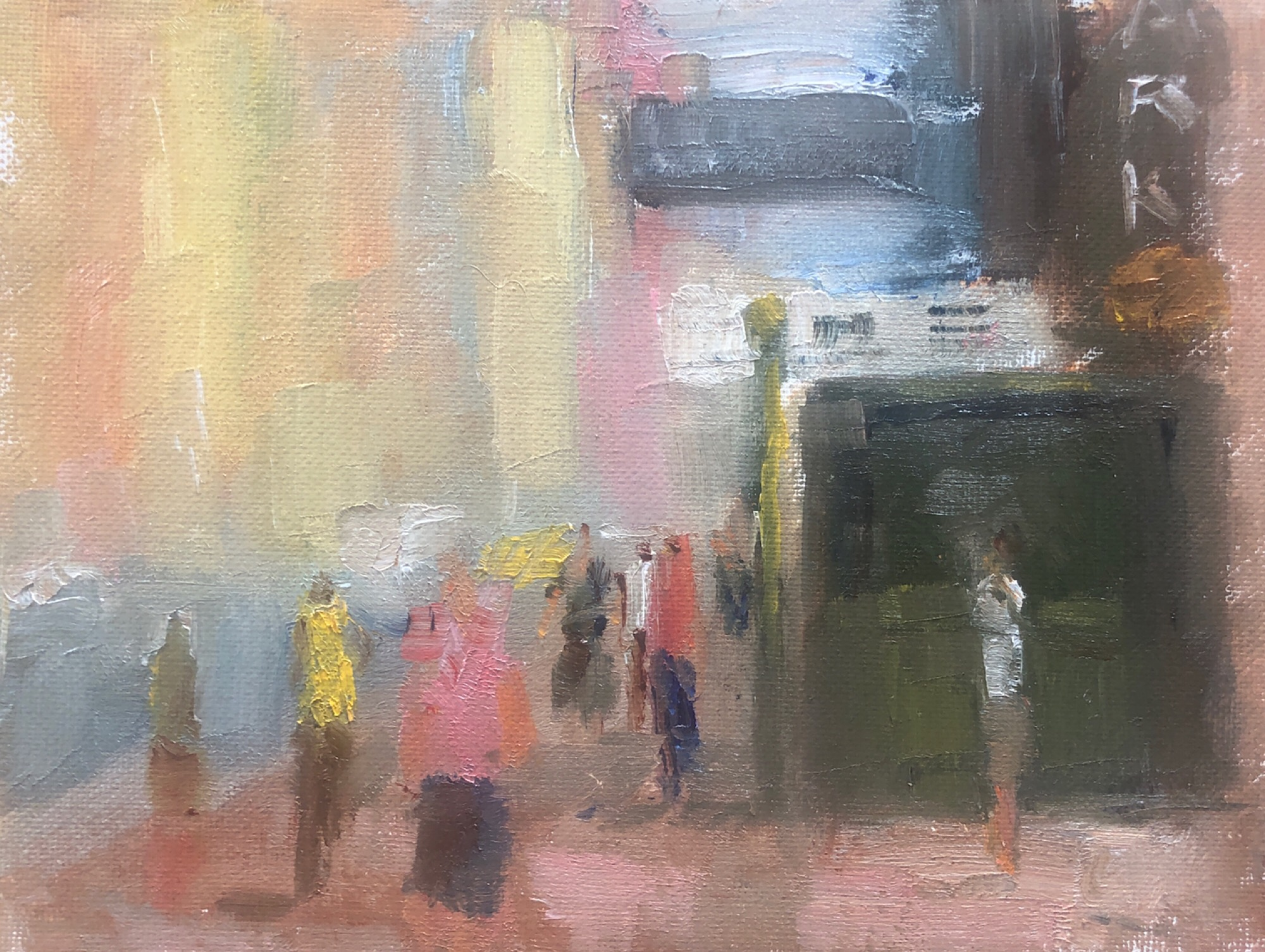 "Geoff Watson, ""Sketch of 7th Avenue at 57th Street,"" study, July daily painting #6, oil on canvas panel, 6"" x 8,"" 2019."