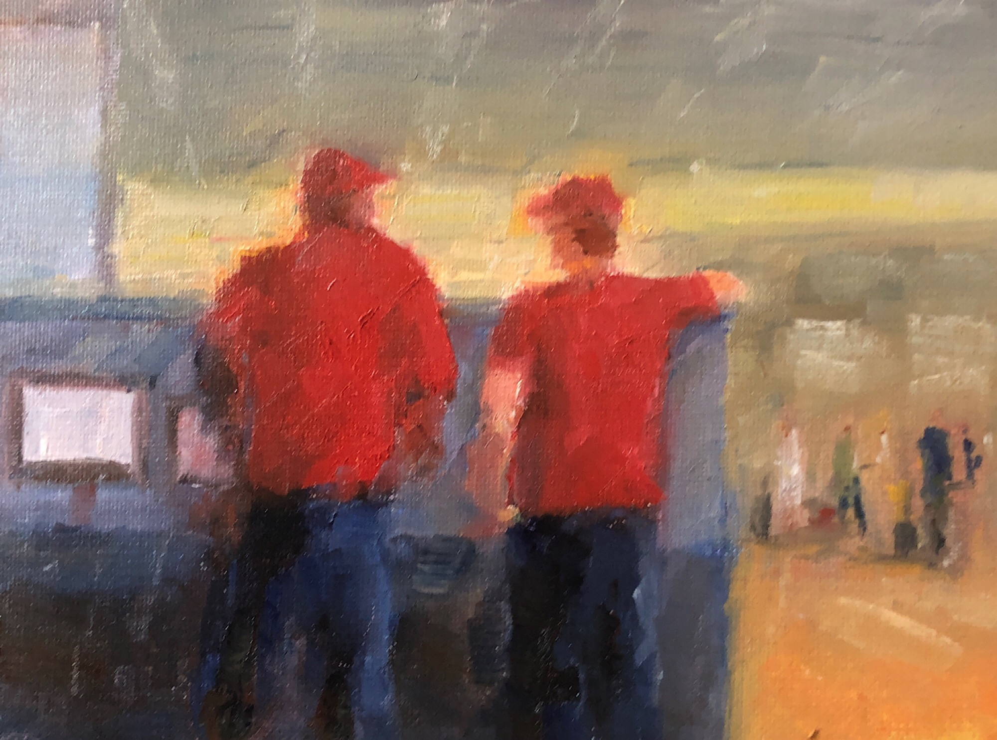 "Geoff Watson, ""Sketch of Red Caps at Penn Station,"" July daily painting #7, oil on panel, 6"" x 8,"" 2019."