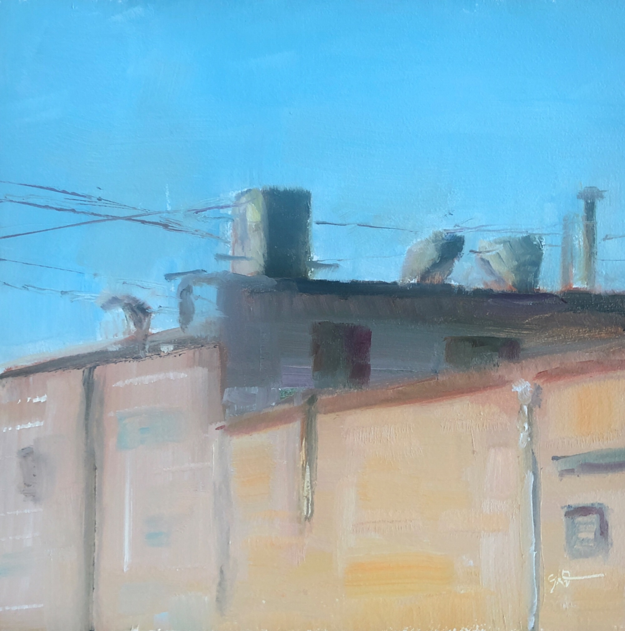 "Geoff Watson, ""Rooftop,"" July daily painting #9, oil on panel, 6"" x 6,"" 2019."