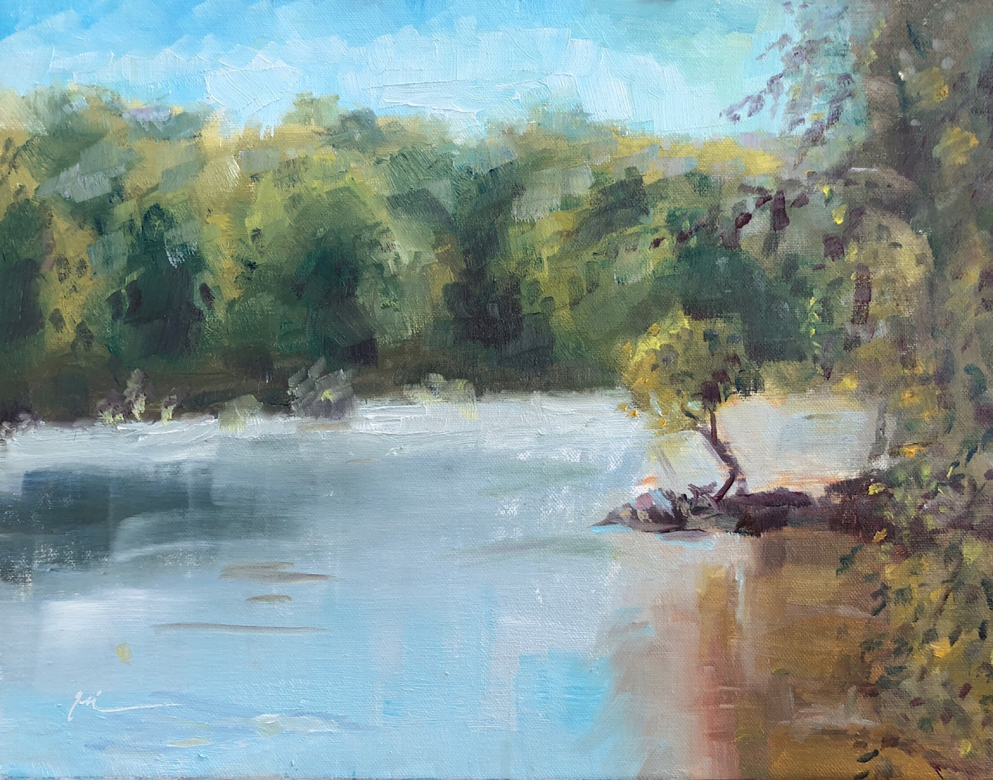"Geoff Watson, ""Potomac Tree,"" oil on linen, 9"" x 12,"" 2019."