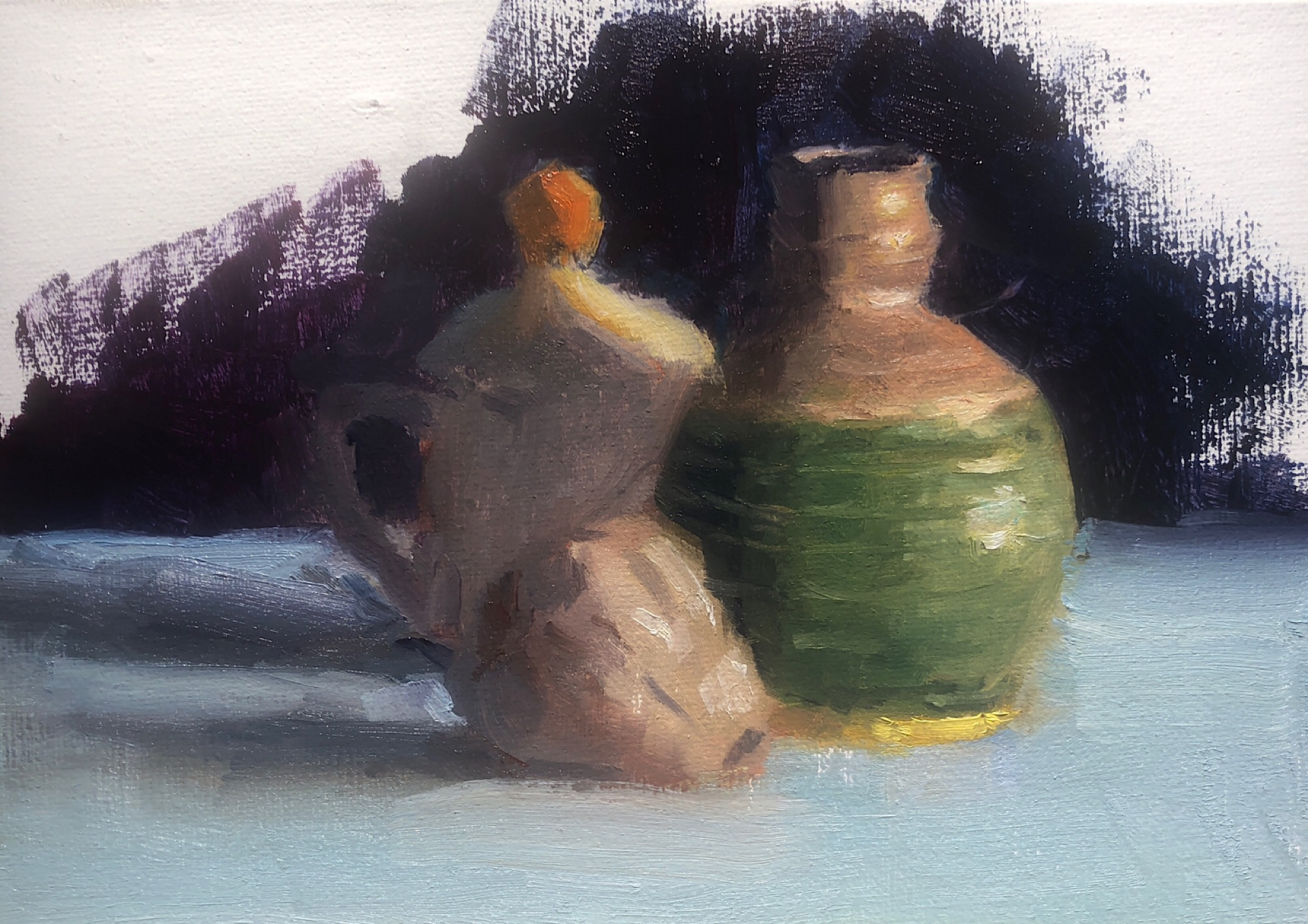 "Geoff Watson, ""In progress: Garlic & pottery,"" oil on linen, 5"" x 7,"" 2019."