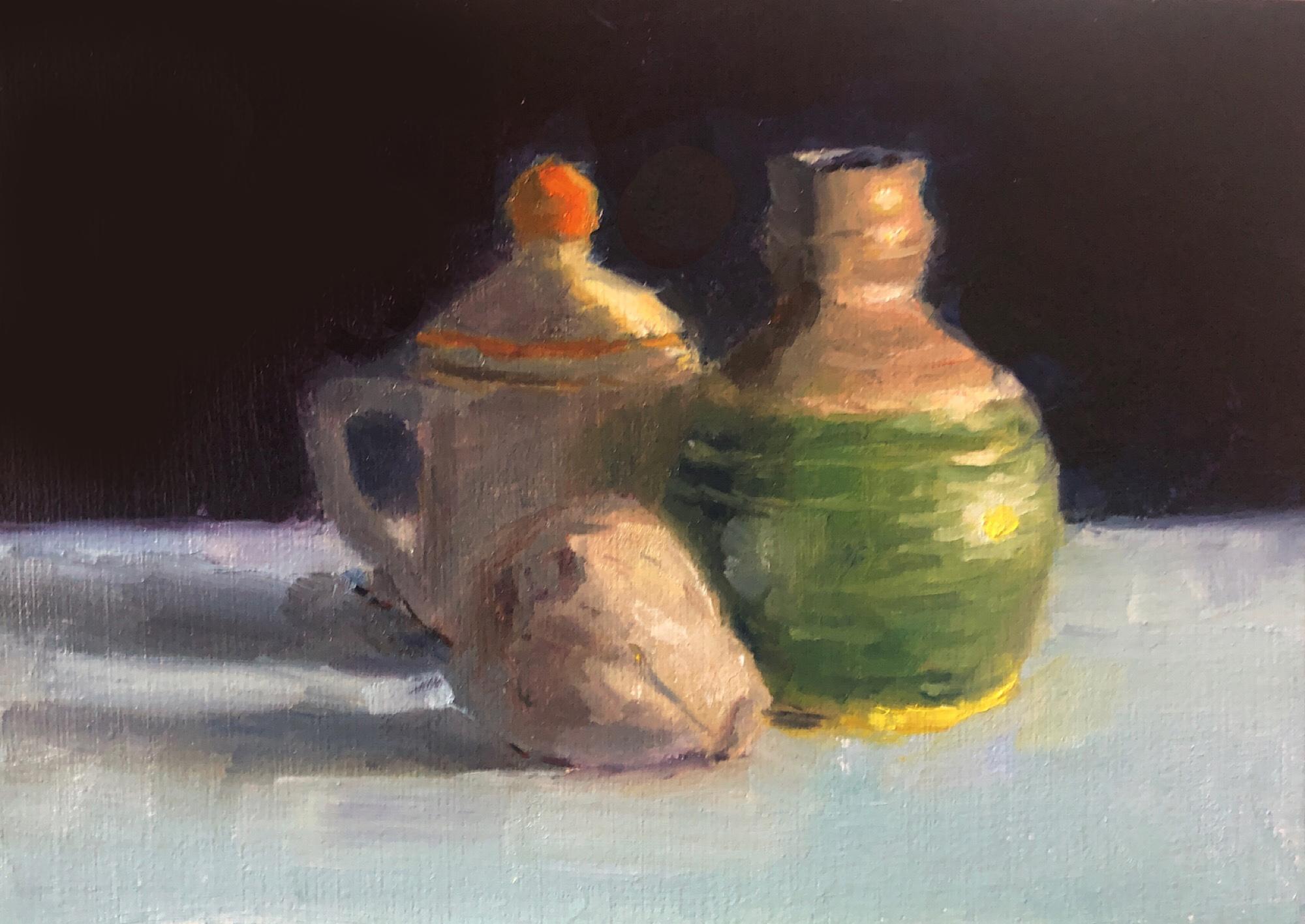 """Geoff Watson, """"Garlic & pottery (in progress),"""" day 2, oil on linen, 5"""" x 7,"""" 2019."""