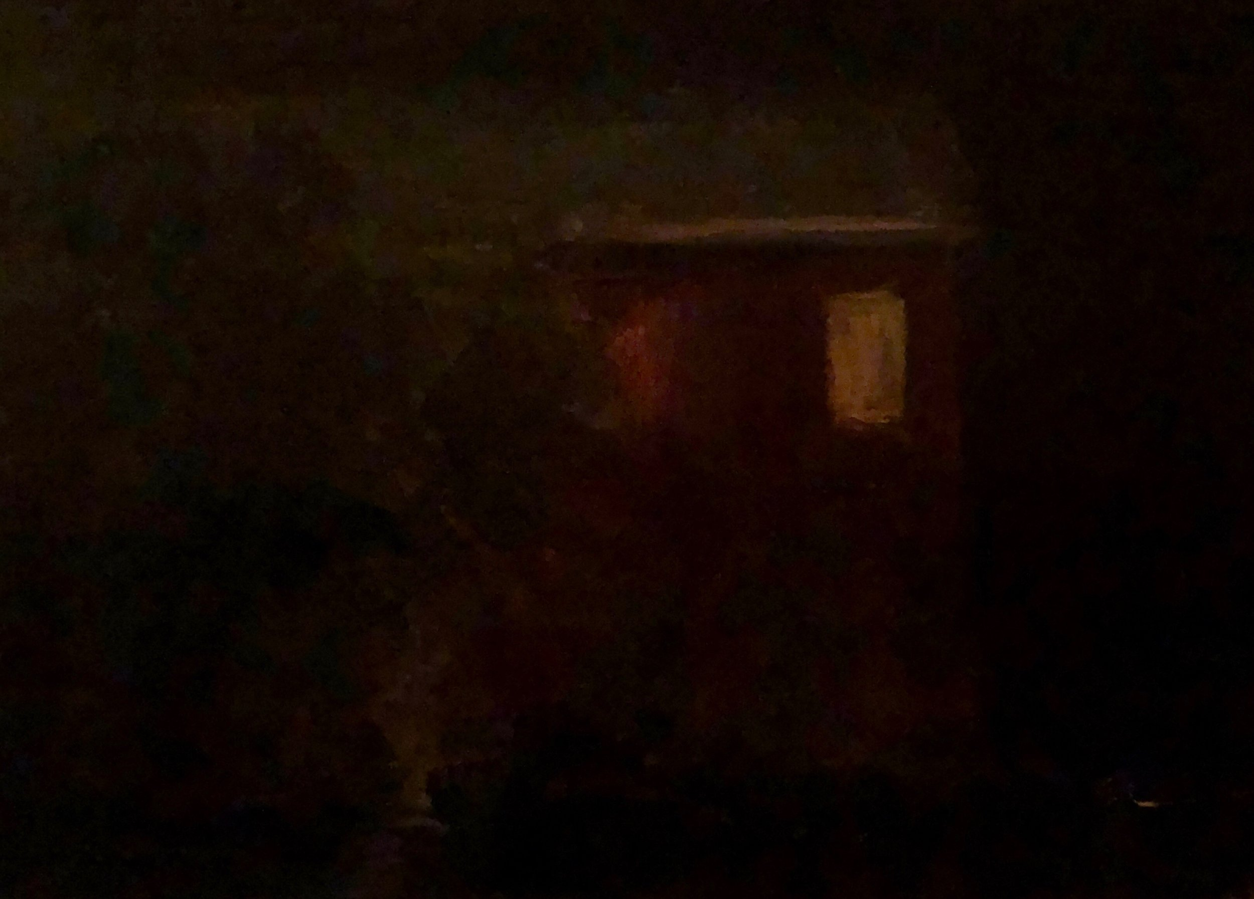 "Geoff Watson, ""Nocturnal window,"" oil on linen, 5"" x 7,"" 2019."