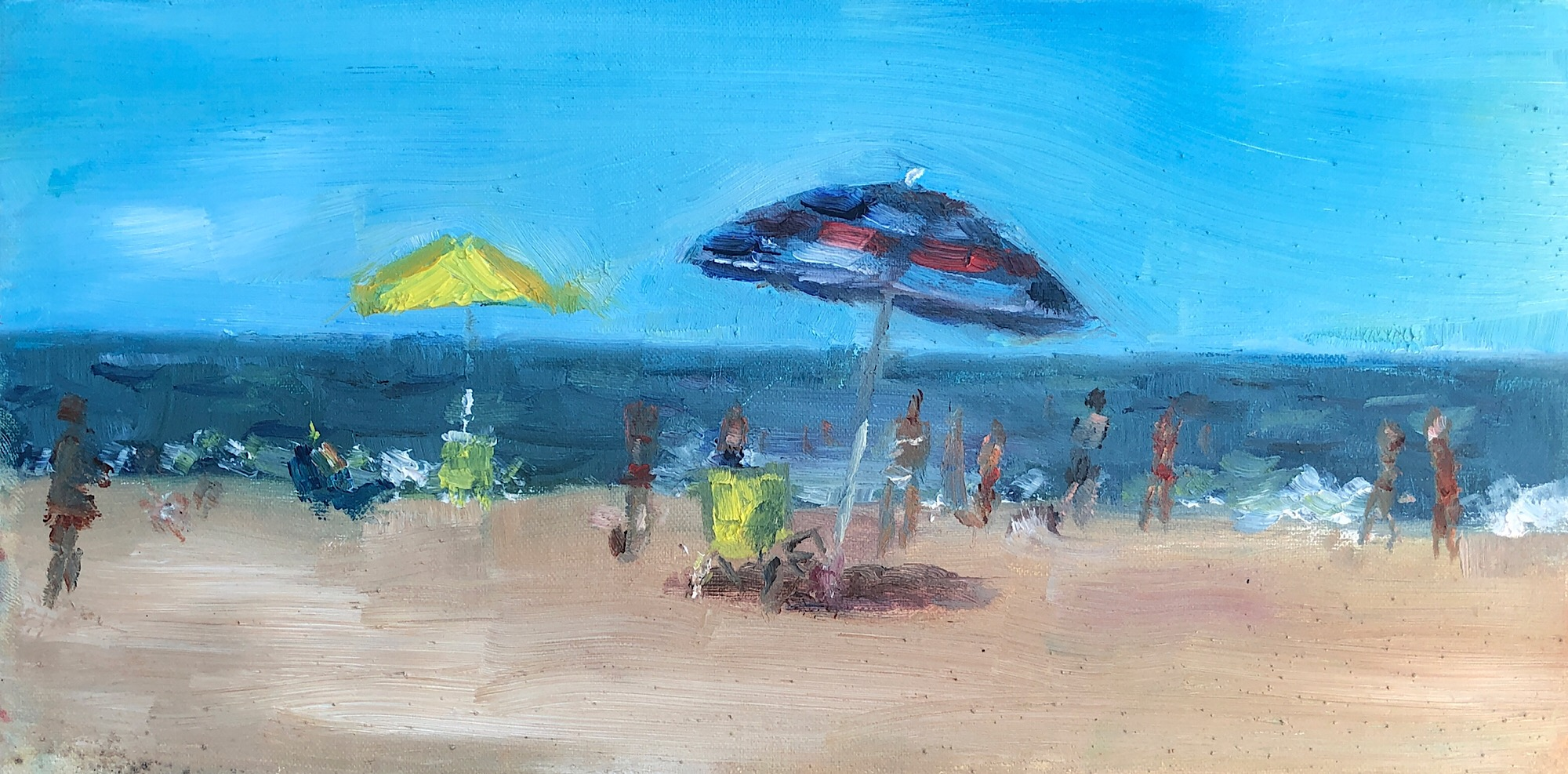 "Geoff Watson, ""Rehoboth Beach,"" oil on linen, 6"" x 12,"" 2019."
