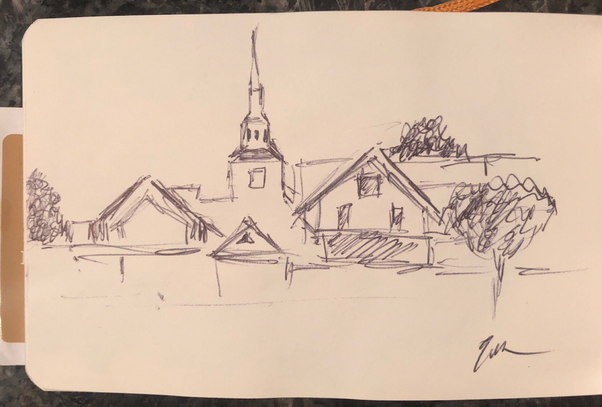 "Geoff Watson, ""Sketch of Rehoboth skyline,"" ink on paper, about 2"" x 3,"" 2019."