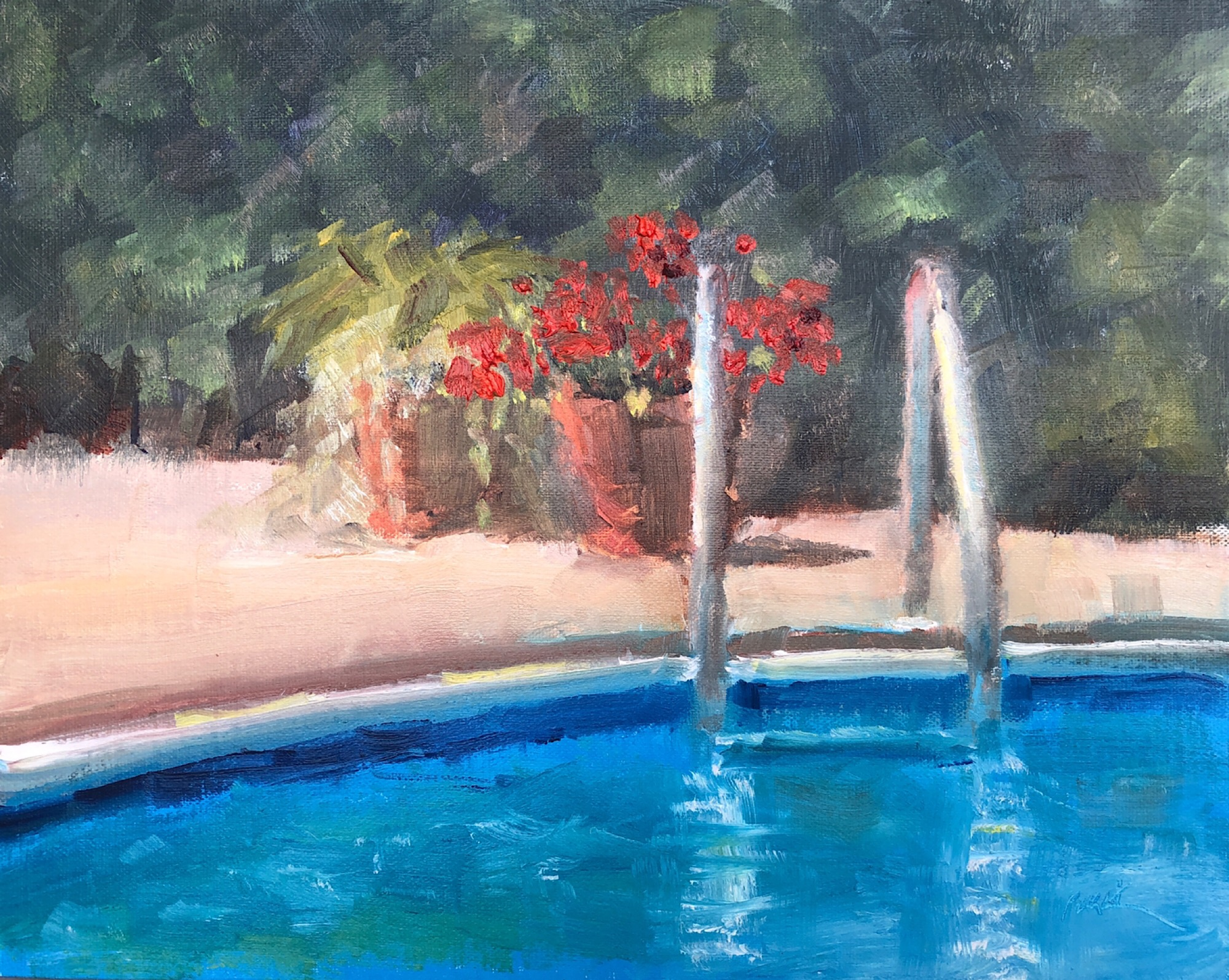"Geoff Watson, ""Flower pots at the pool,"" oil on linen, 8"" x 10,"" 2019."