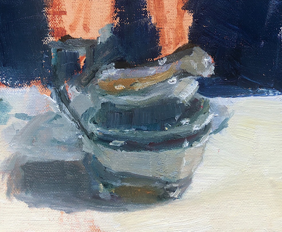 "Geoff Watson, ""Silver pot (in progress),"" detail, oil on linen, 5"" x 7,"" 2019."