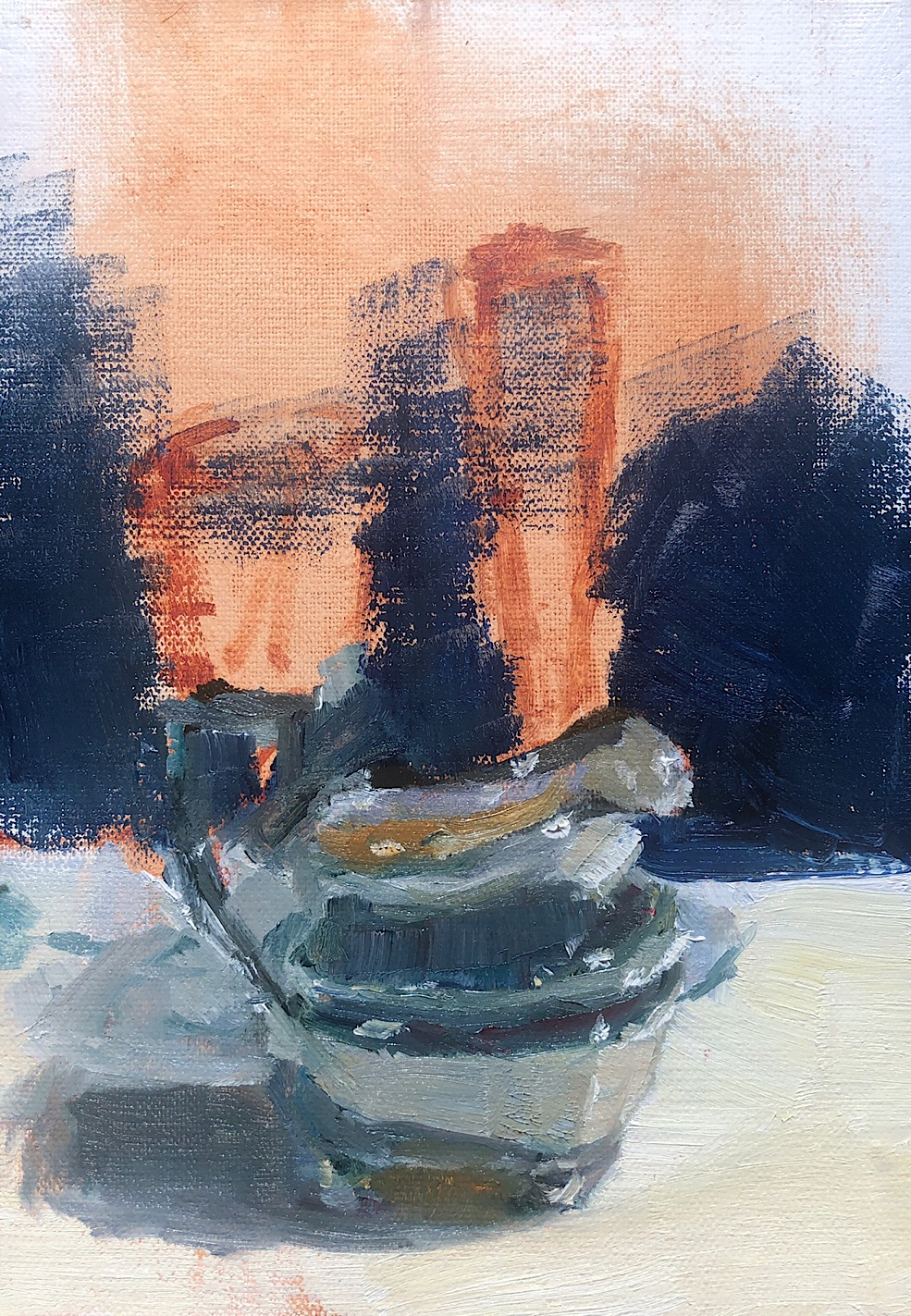 "Geoff Watson, ""Silver pot (in progress,"" oil on linen, 5"" x 7,"" 2019."